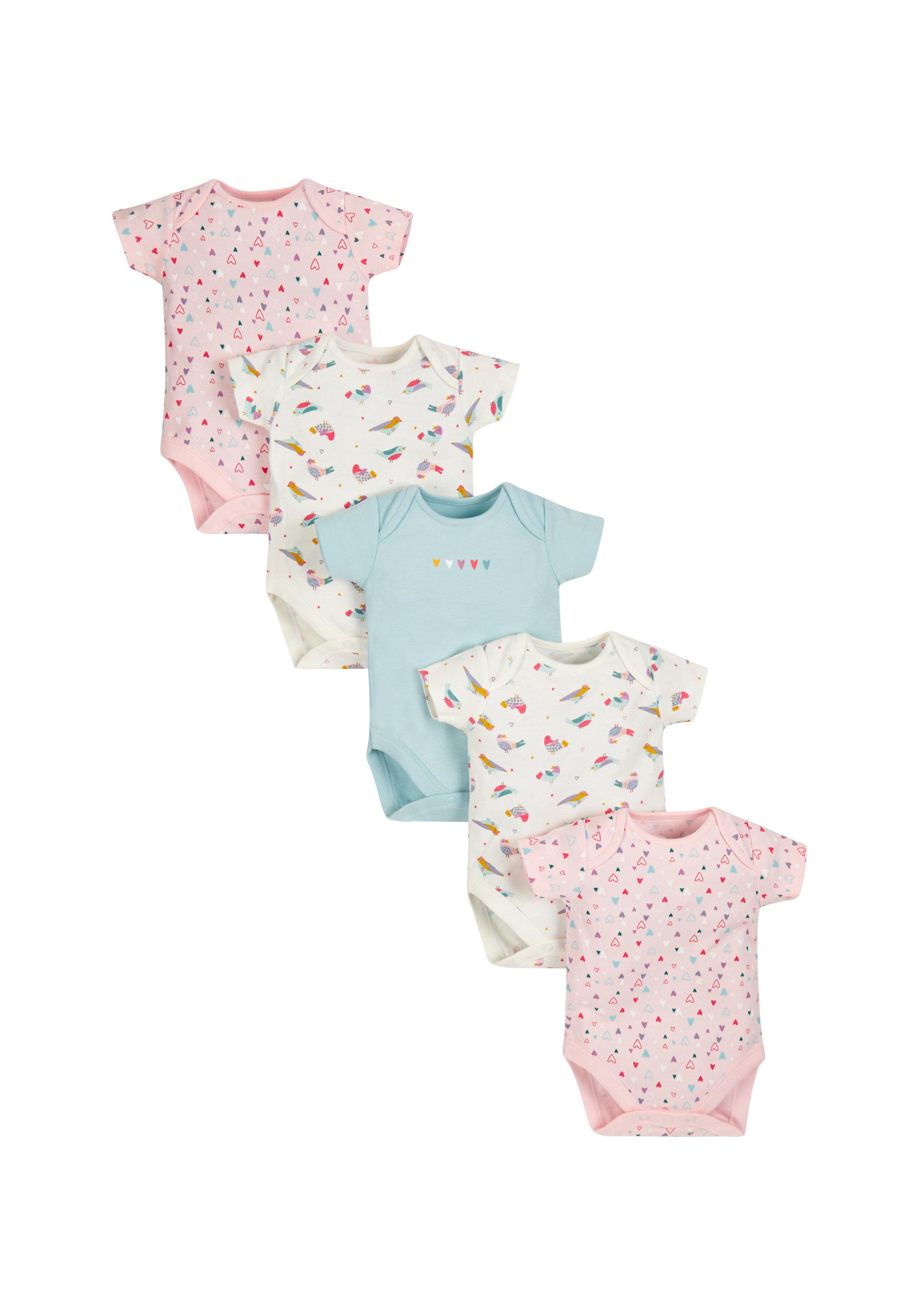Mothercare | Girls Full Sleeves Onesies - Pack of 5 - Multicolor