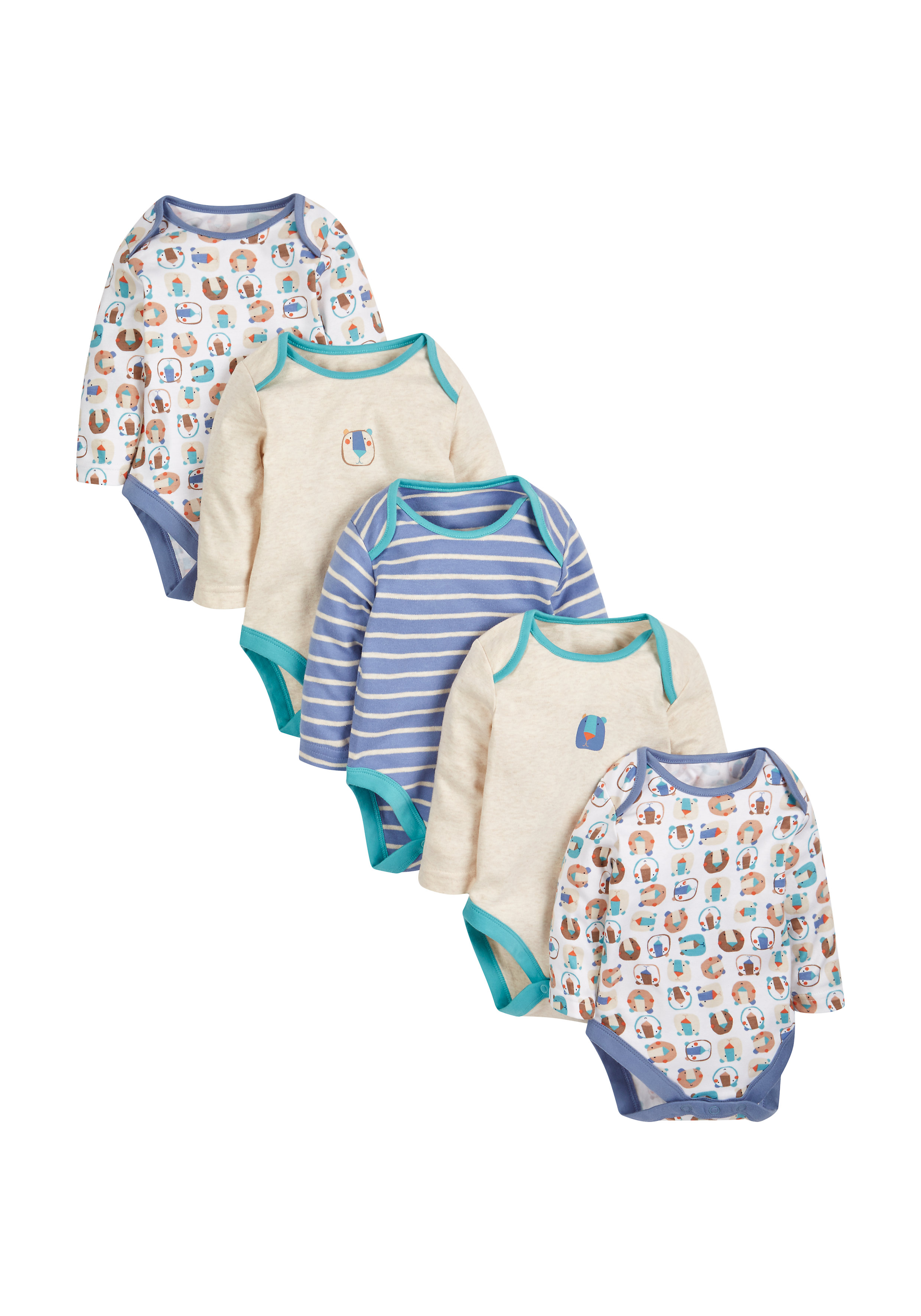 Mothercare | Boys Bear Sleepsuits - Pack Of 5 - Multicolor