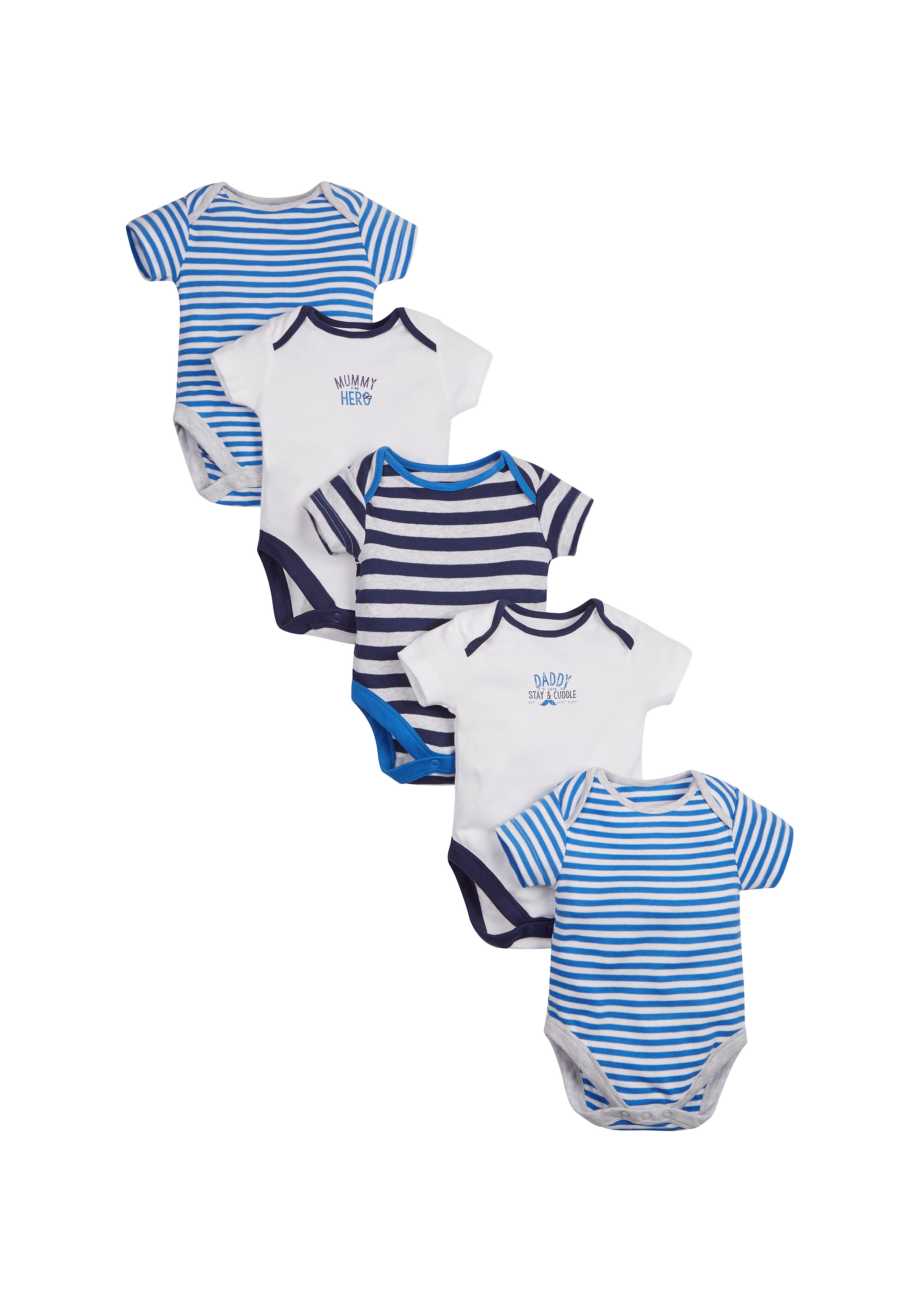 Mothercare | Boys Mummy And Daddy Bodysuits - Pack Of 5 - Blue