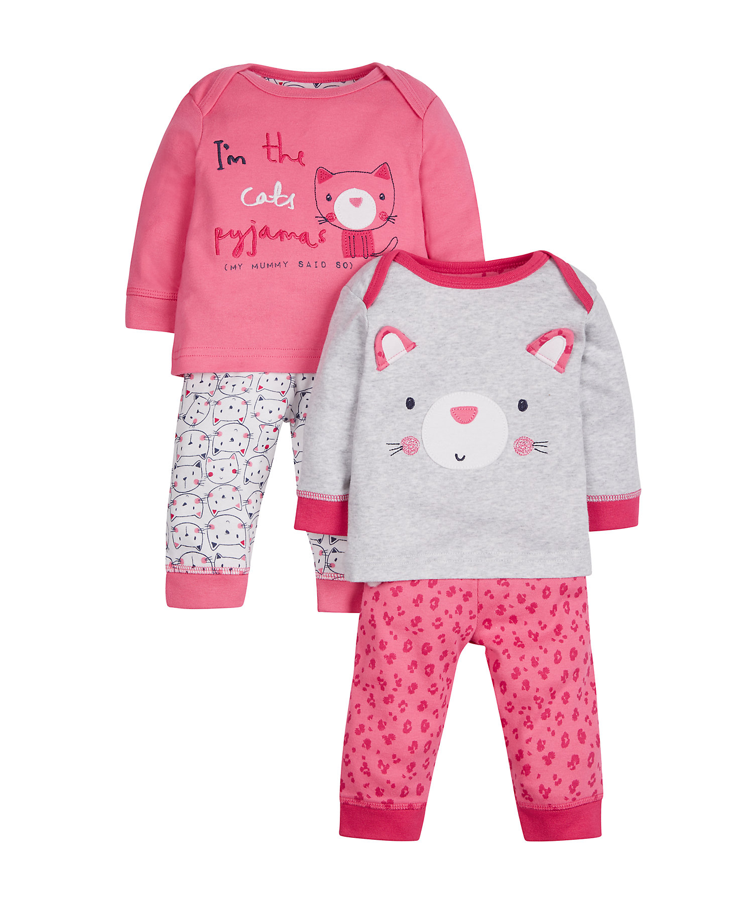 Mothercare   Girls Full Sleeves Pyjama Set Cat Embroidery - Pack Of 2 - Pink