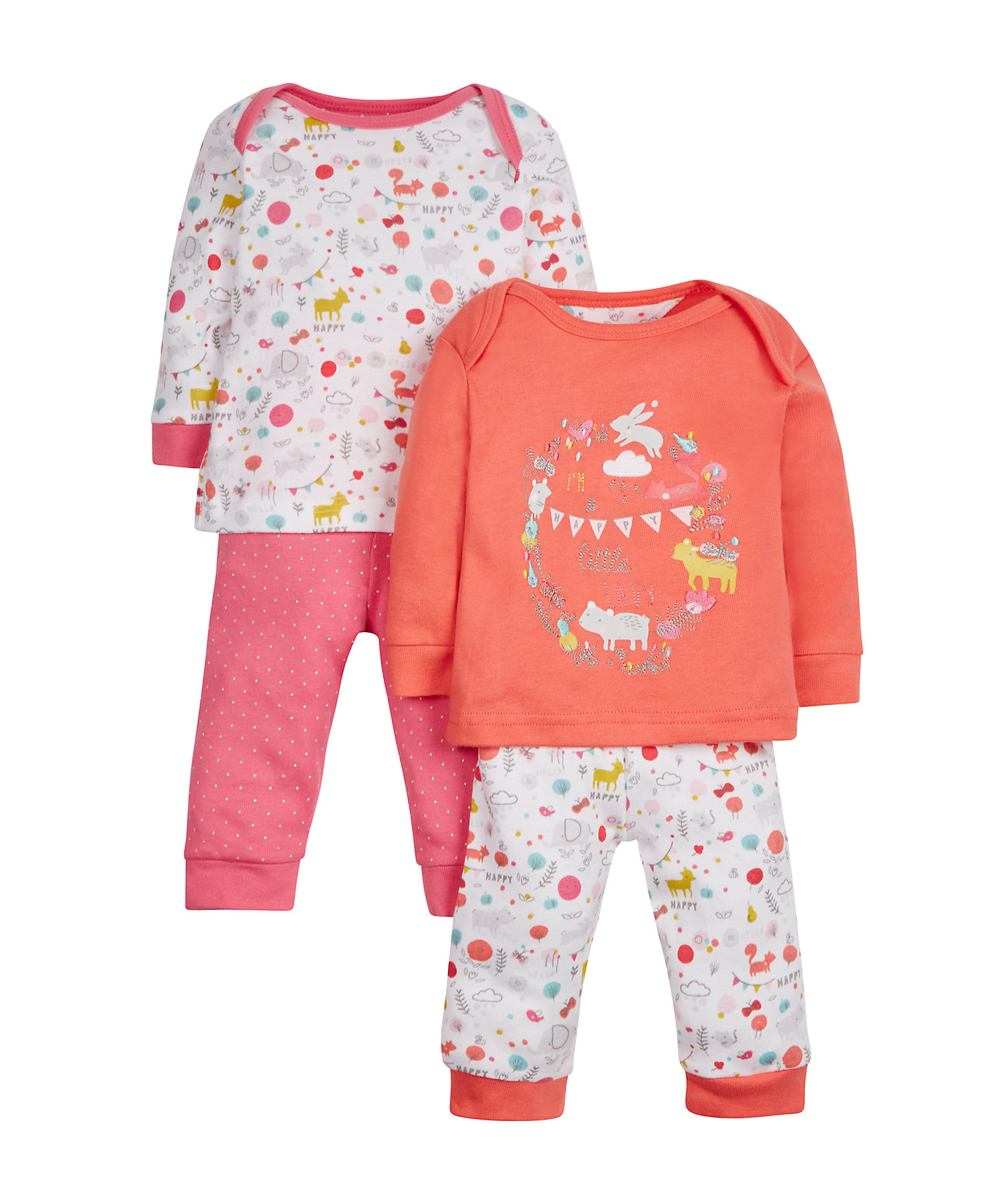 Mothercare | Girls Full Sleeves Pyjama Set Embroidered - Pack Of 2 - Coral
