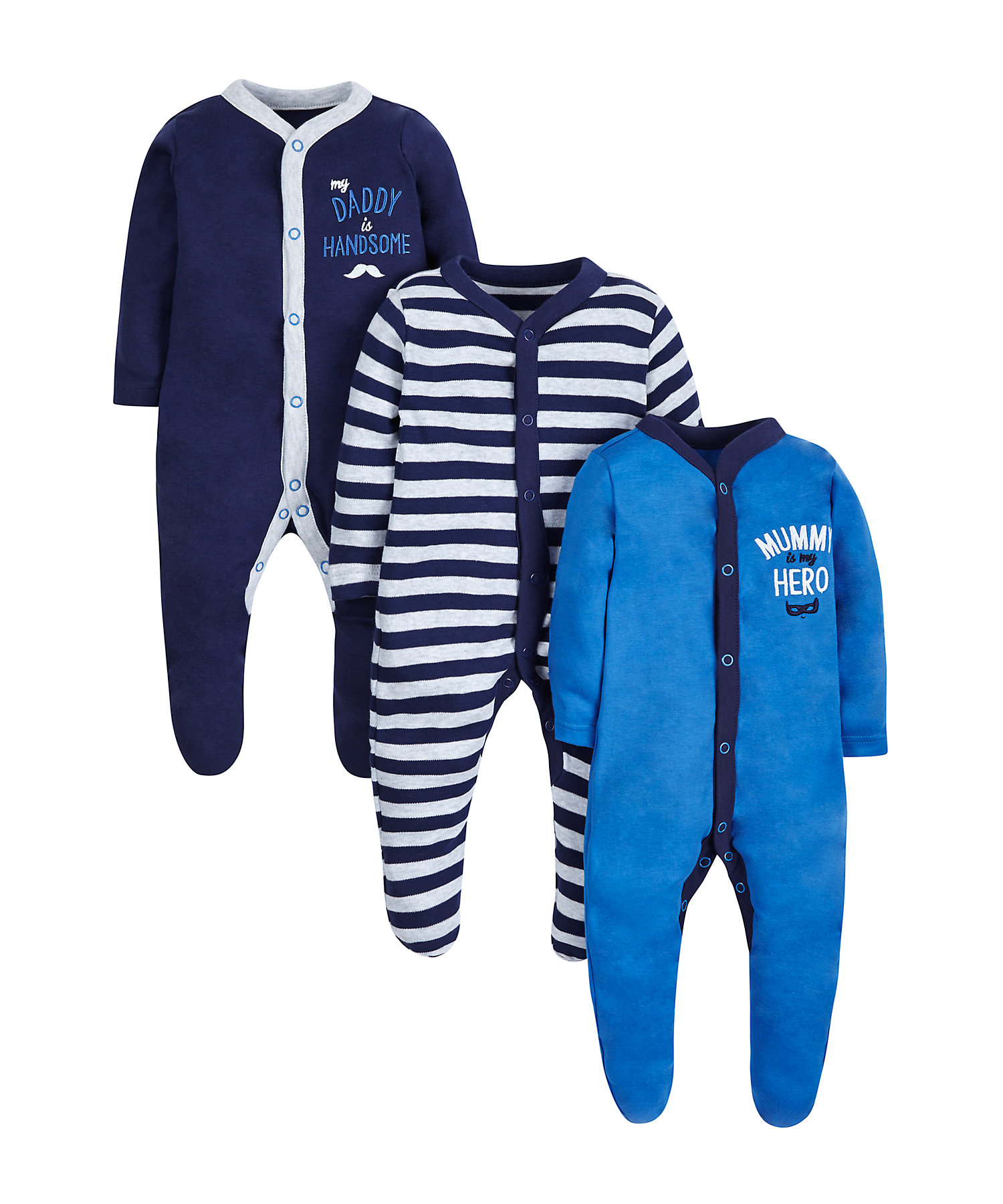 Mothercare | Boys Full Sleeves Sleepsuit Embroidered And Striped - Pack Of 3 - Blue