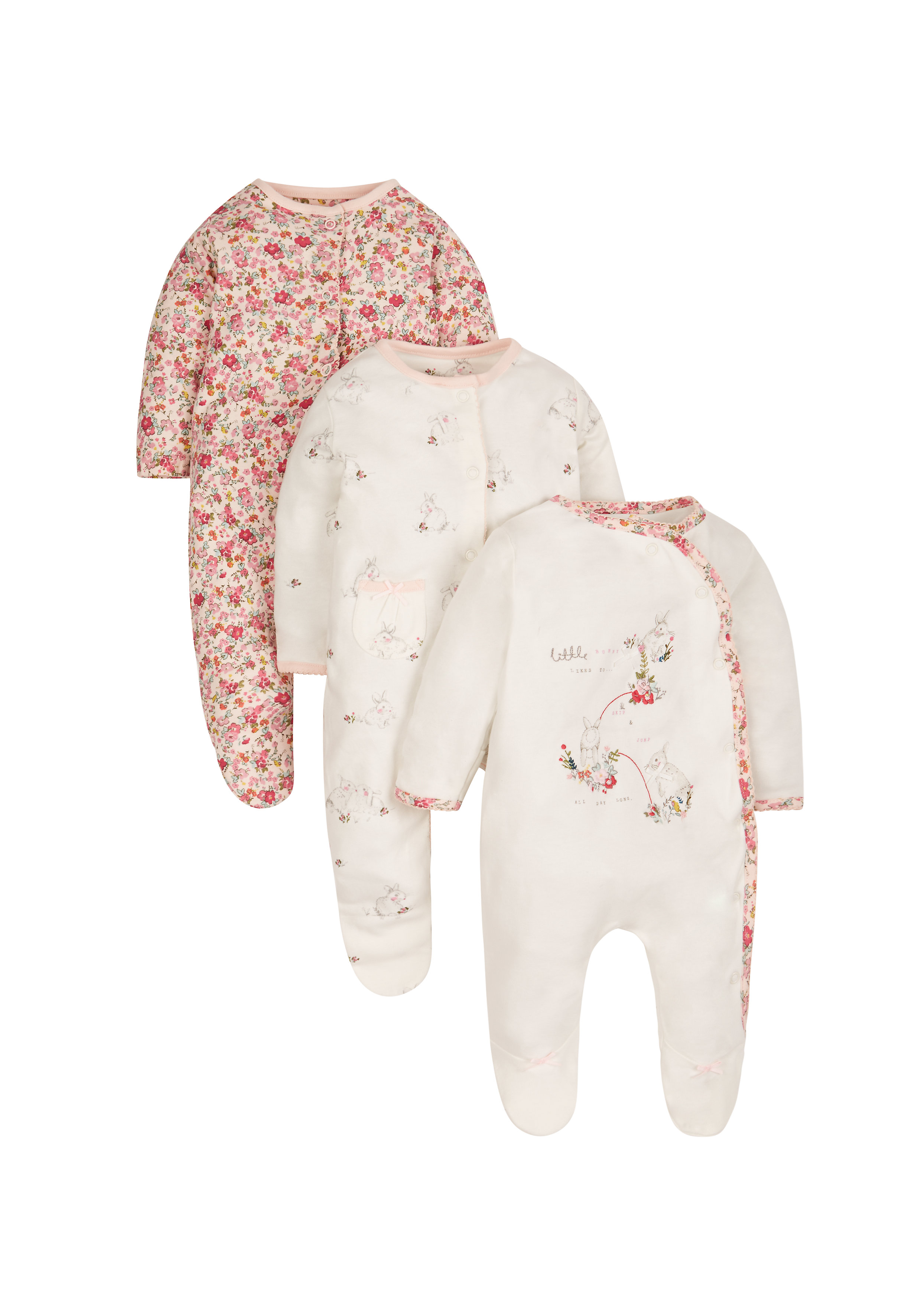 Mothercare | Girls Autumn Garden Sleepsuits - Pack Of 3 - Cream