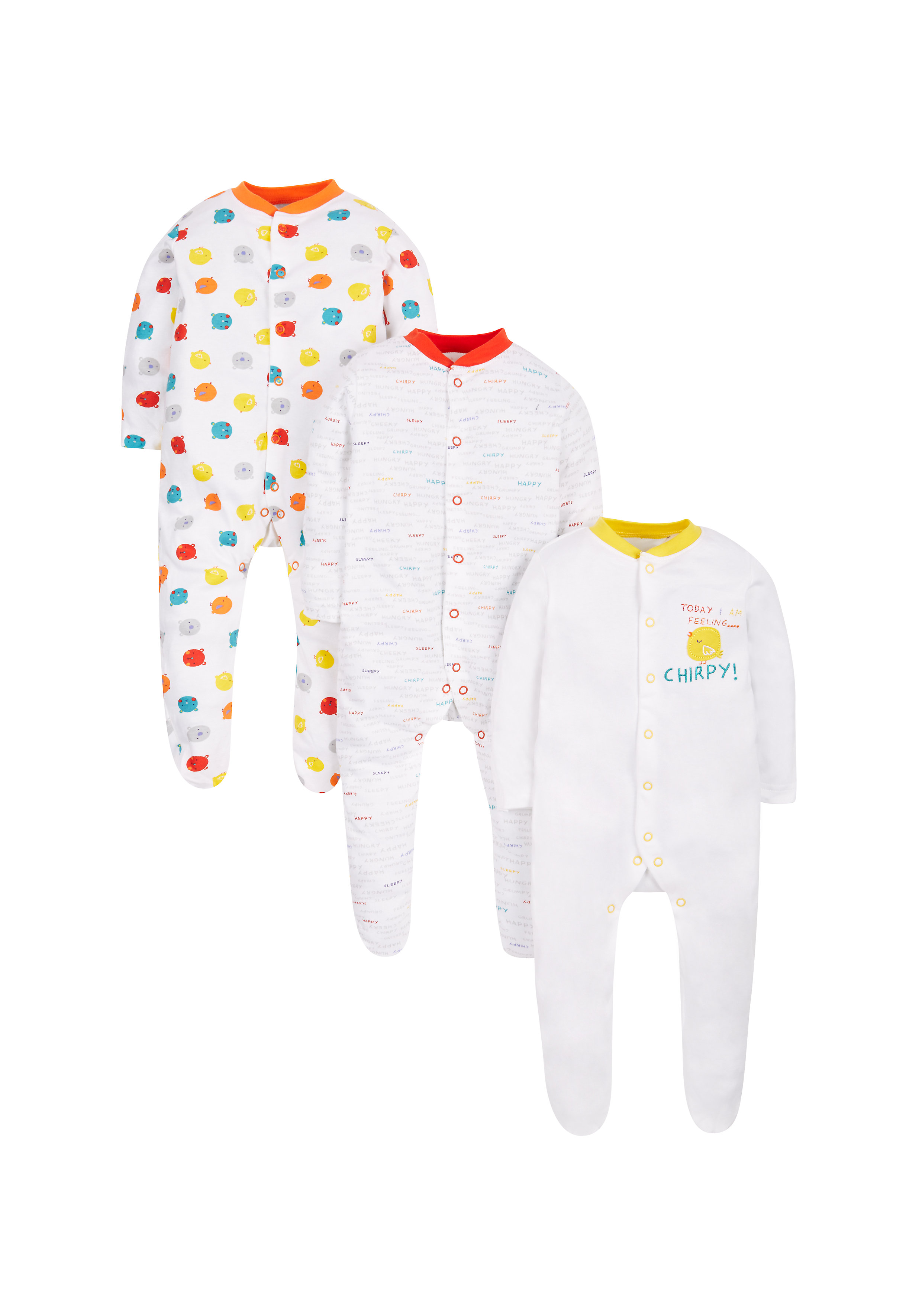 Mothercare   Unisex Full Sleeves Sleepsuit Bird Print - Pack Of 3 - White