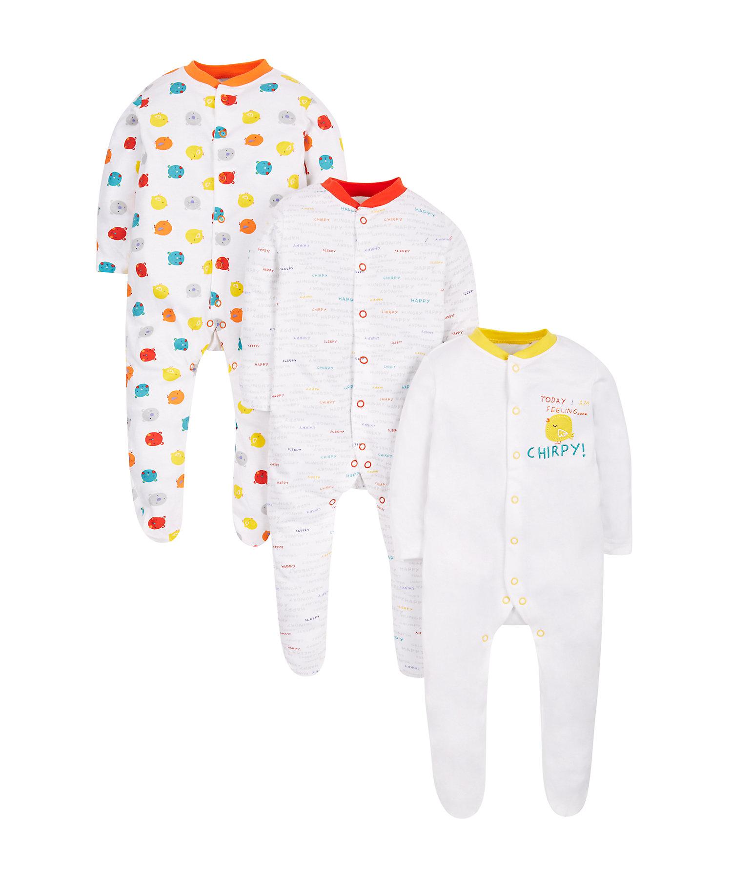 Mothercare | Unisex Full Sleeves Sleepsuit Bird Print - Pack Of 3 - White