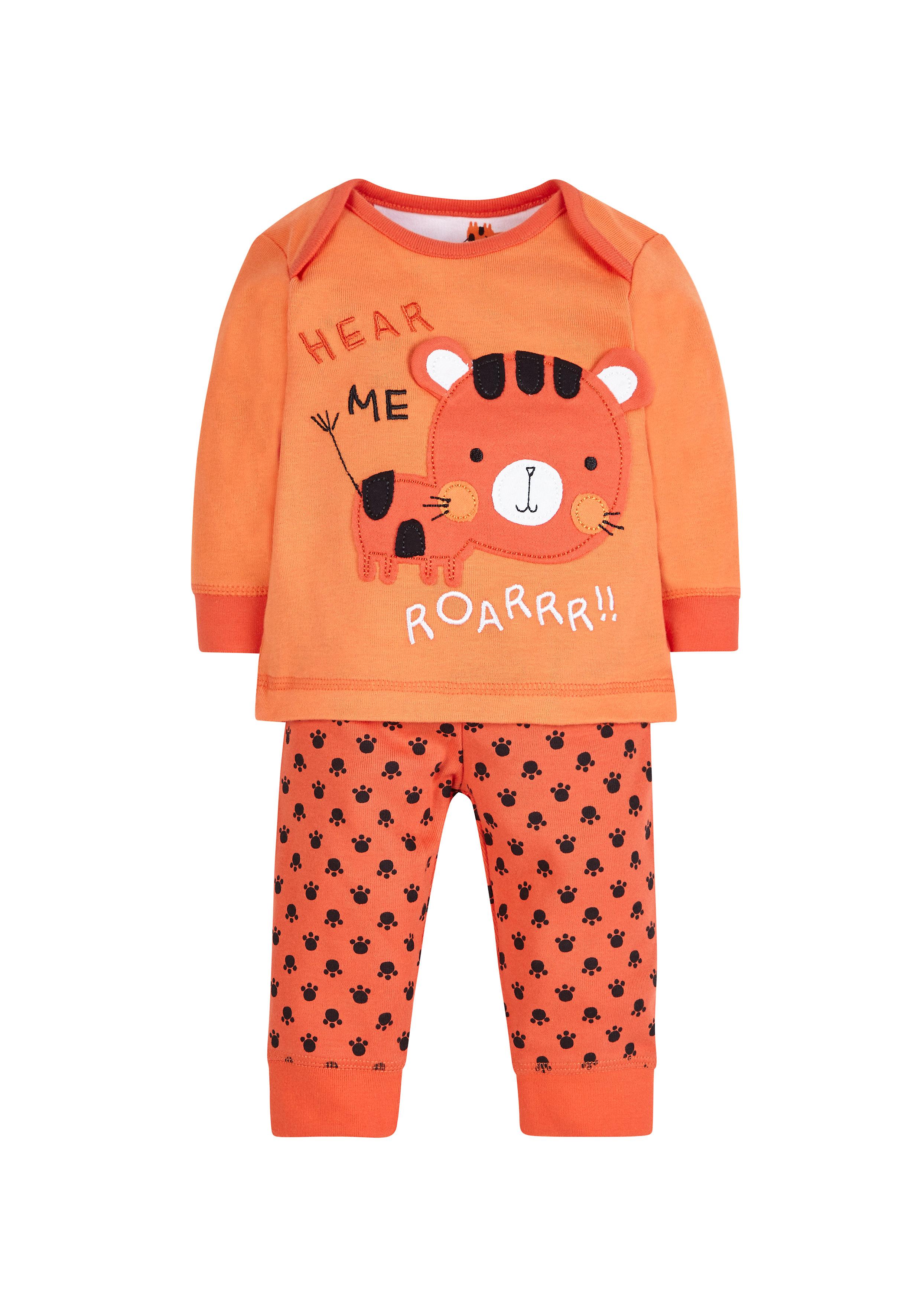 Mothercare | Boys Full Sleeves Pyjama Sets Tiger Design - Orange