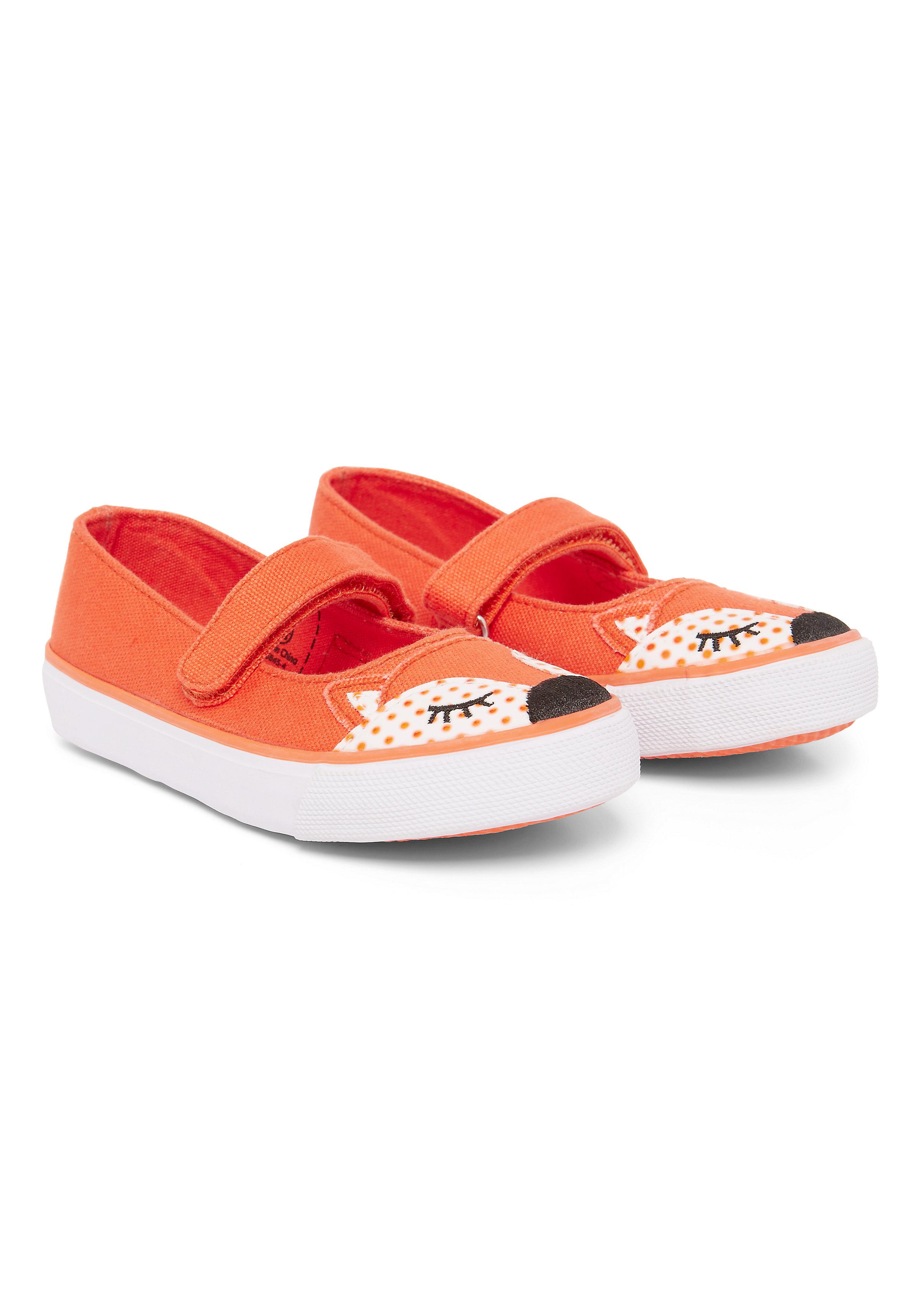 Mothercare | Girls Novelty Fox Canvas Shoes - Orange