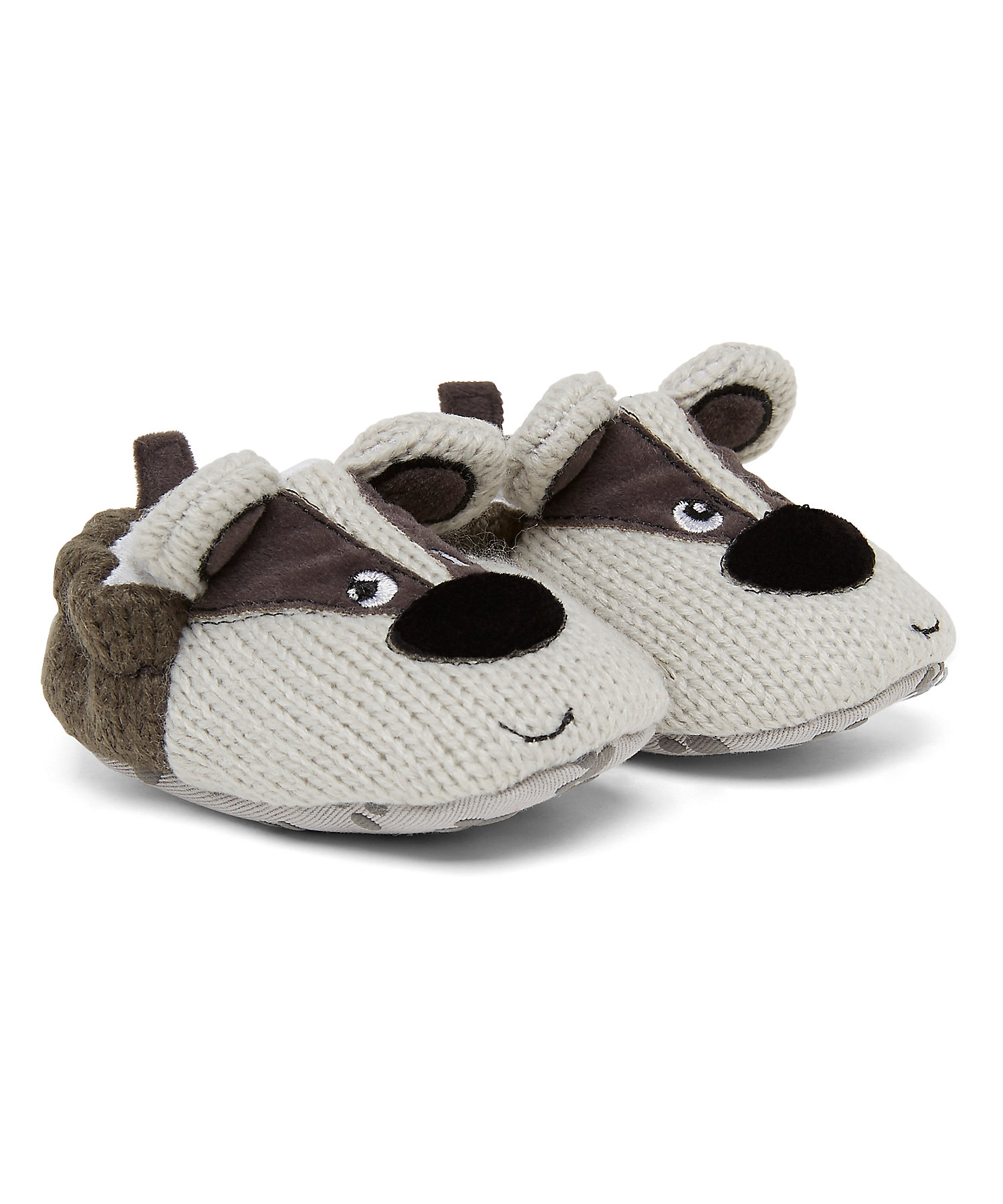 Mothercare | Boys Booties 3D Ear Details - Grey