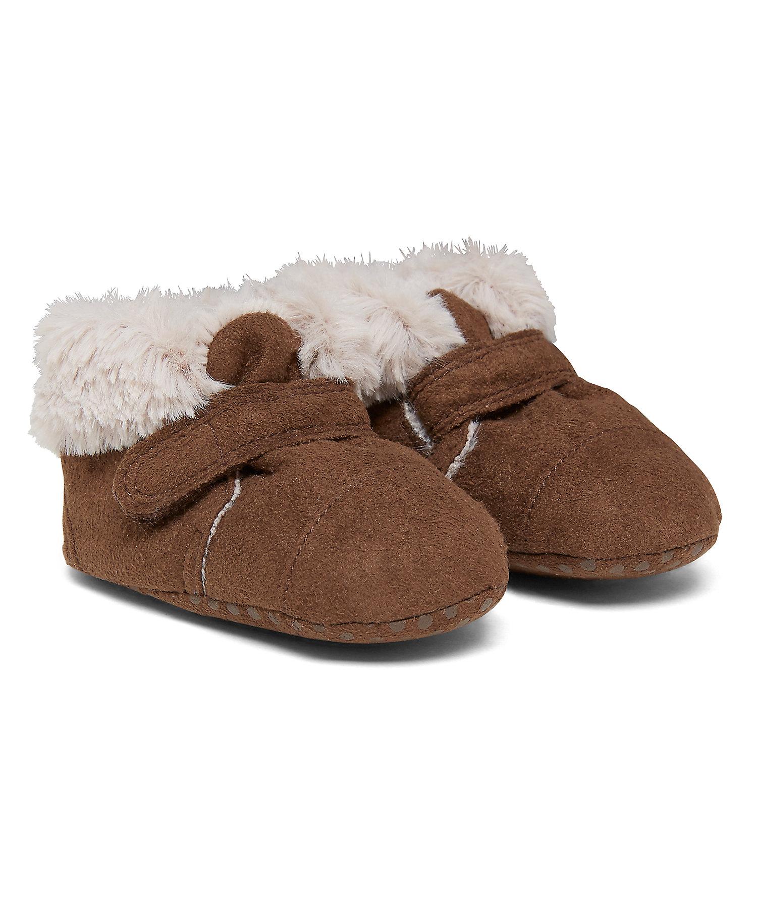 Mothercare | Boys Pram Shoes Fur Detail - Brown