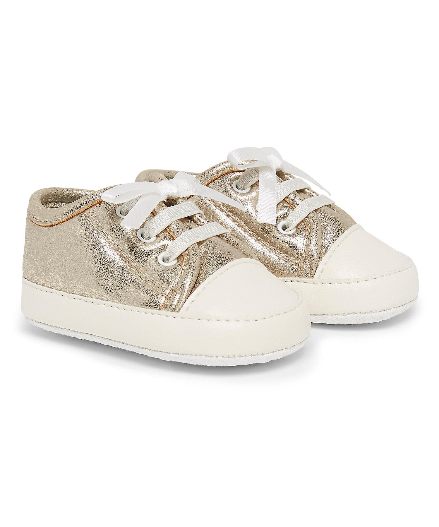 Mothercare | Girls Pram Shoes Metallic Finish - Gold