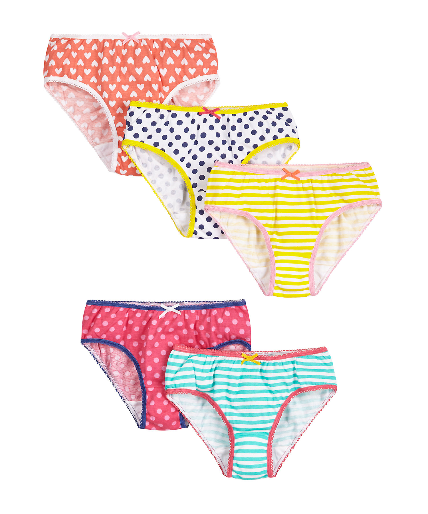 Mothercare | Girls  Briefs Striped And Spot Print - Pack Of 5 - Multicolor