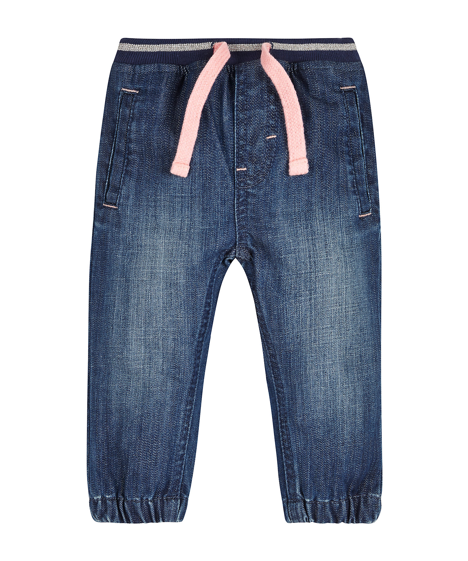 Mothercare | Girls Jeans Embroidered Pocket - Blue