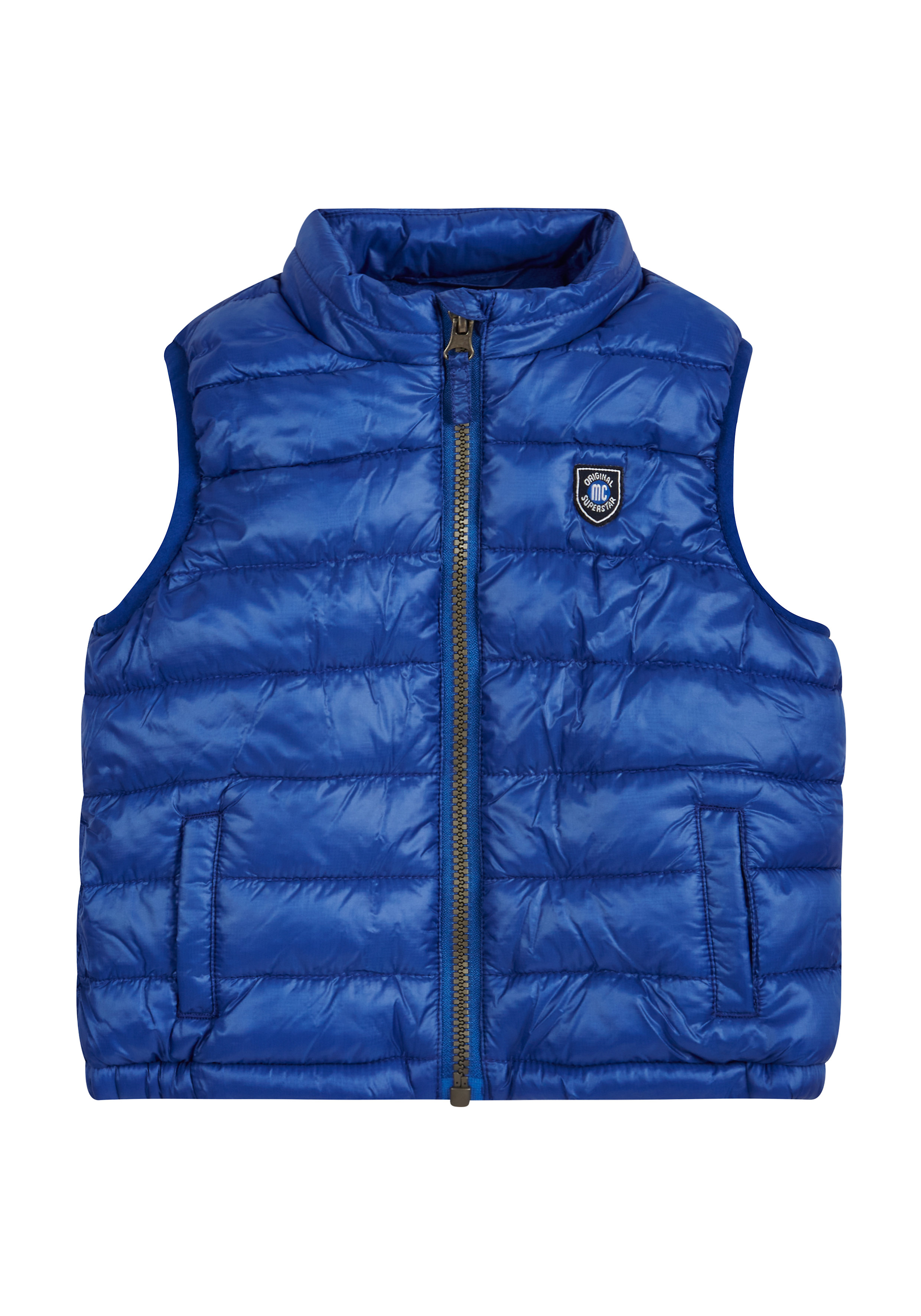 Mothercare | Boys Sleeveless Quilted Jacket Badge Detail - Blue