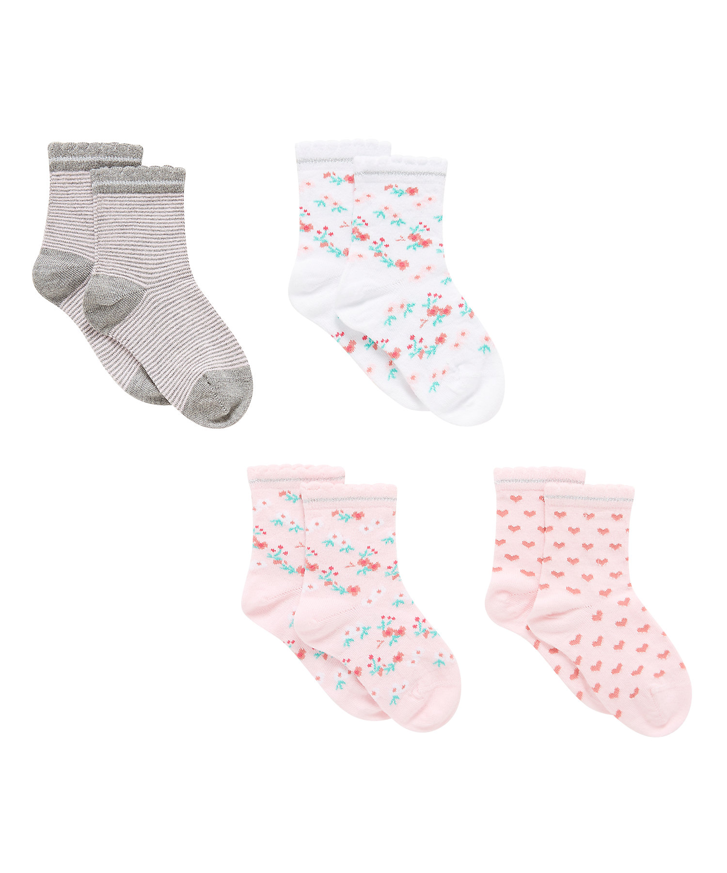 Mothercare | Girls  Socks Floral Design - Pack Of 4 - Multicolor