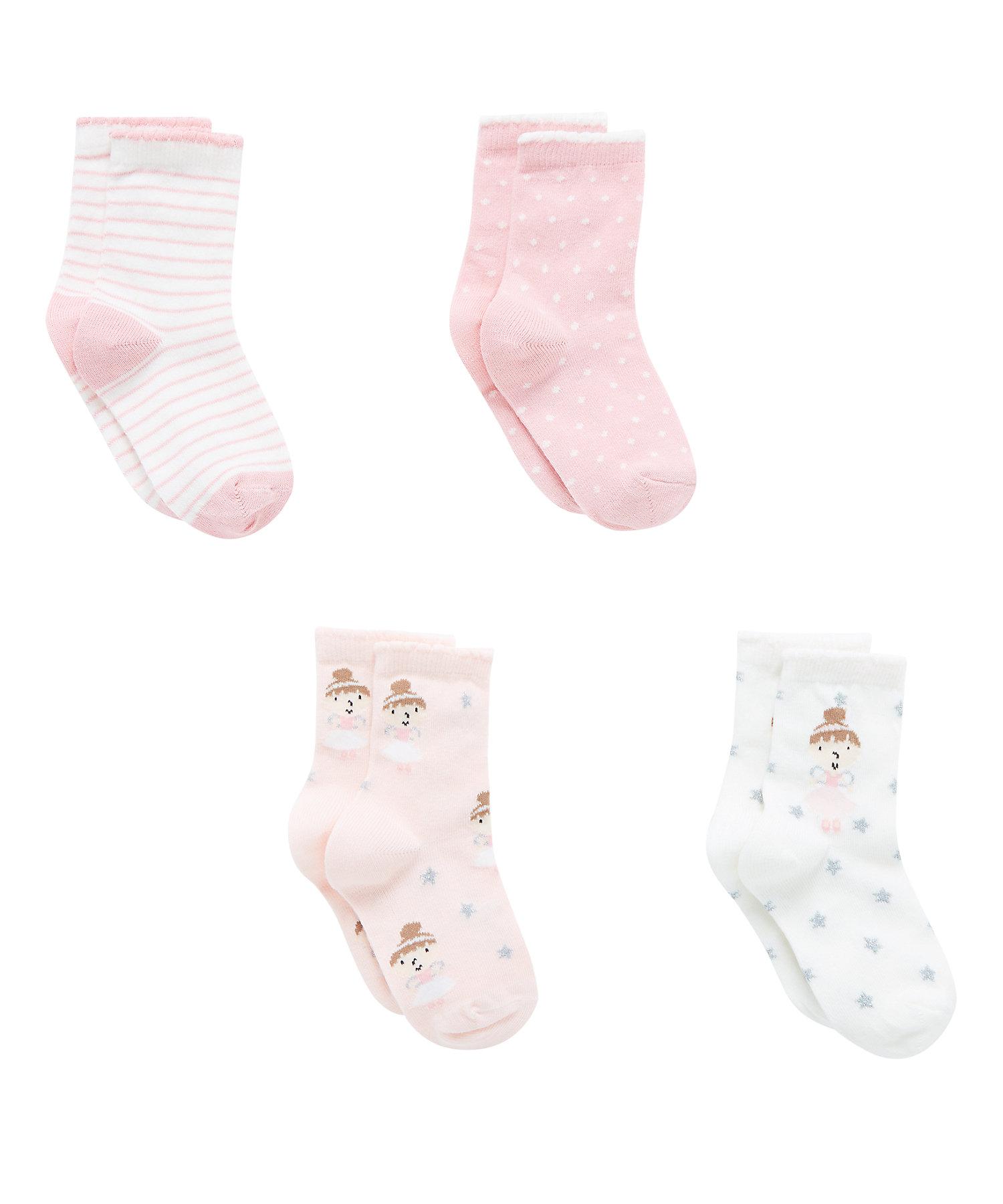 Mothercare | Girls  Socks Fairy Design - Pack Of 4 - Multicolor