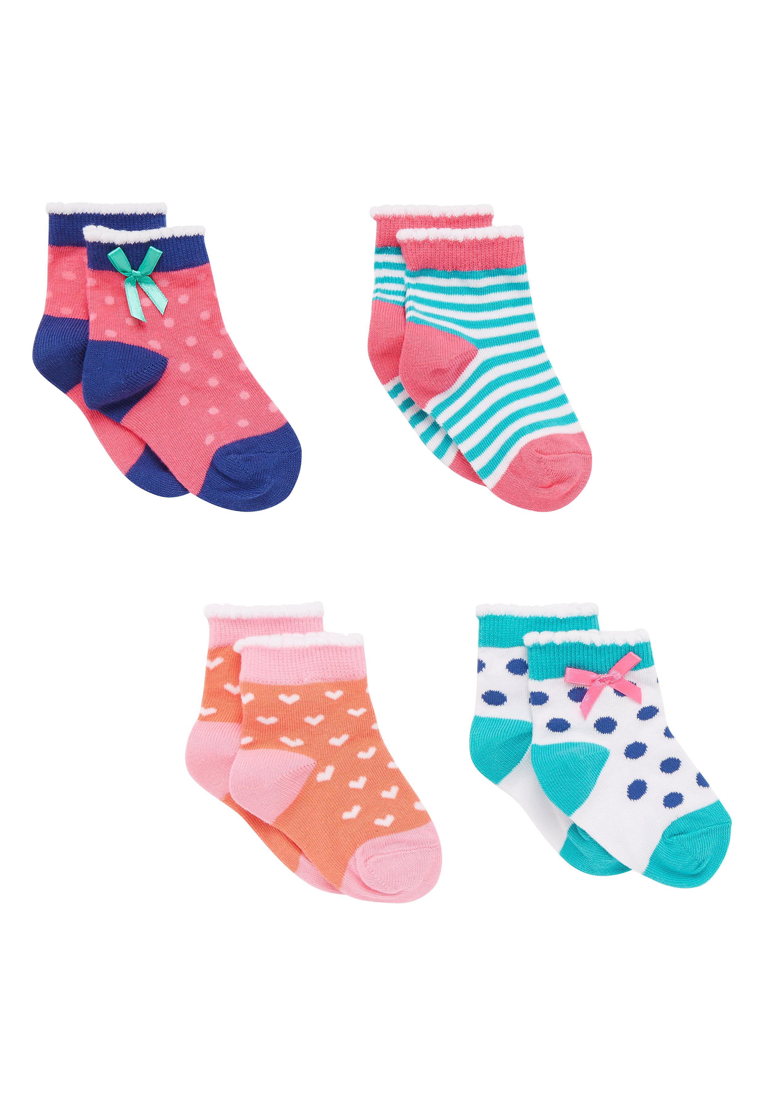 Mothercare | Girls Socks Stripe And Spot Design - Pack Of 4 - Multicolor