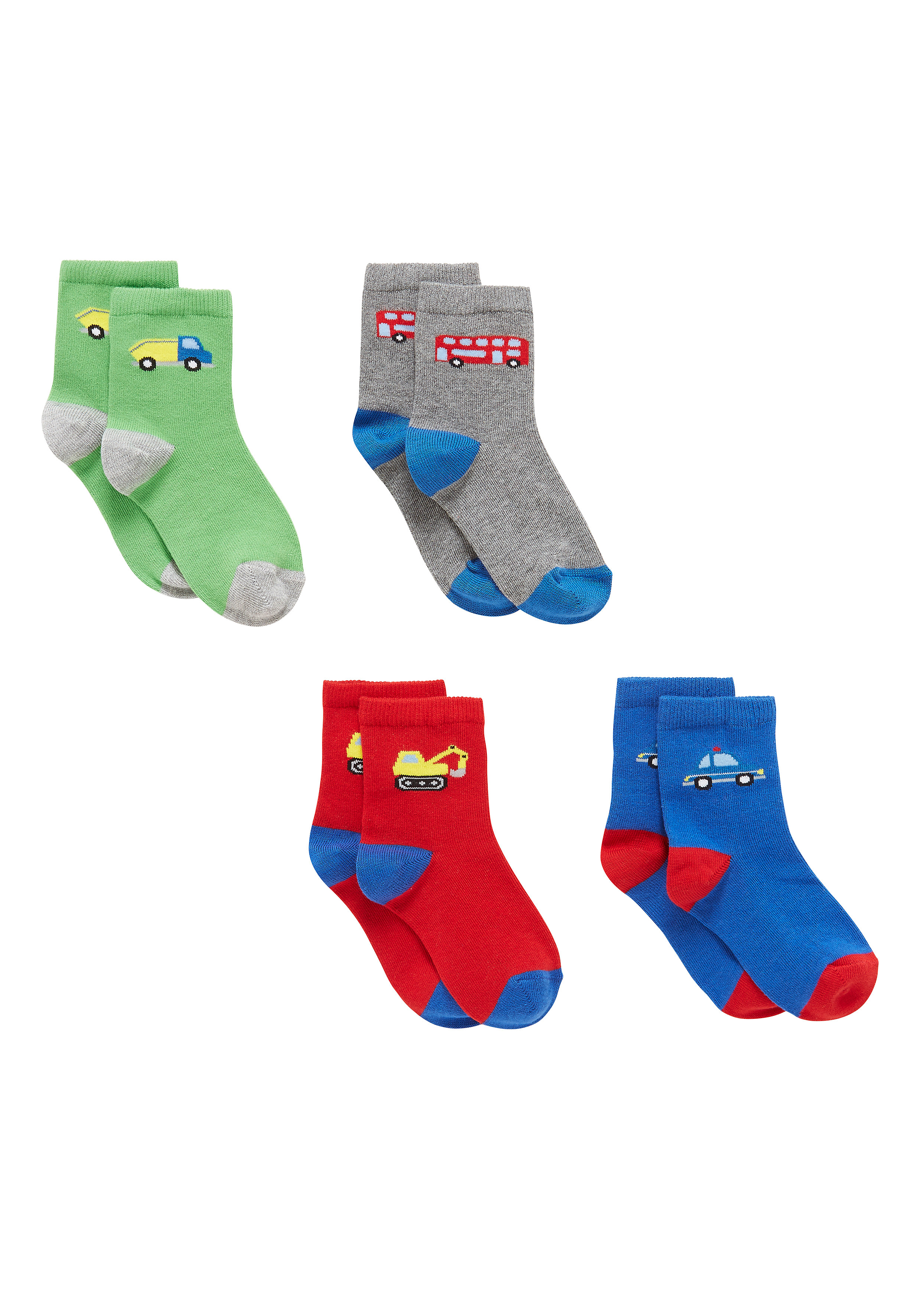 Mothercare | Boys  Socks Vehicle Design - Pack Of 4 - Multicolor