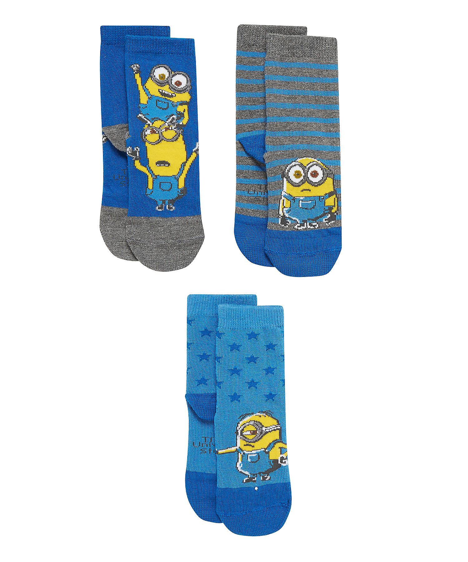 Mothercare | Boys  Socks Minion Design - Pack Of 3 - Blue