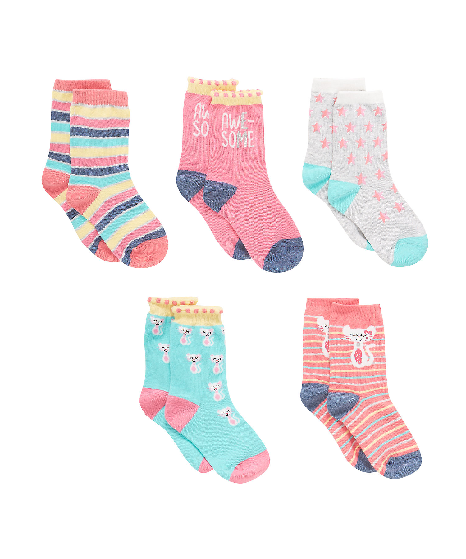 Mothercare   Girls Assorted Socks - Pack Of 5 - Multicolor