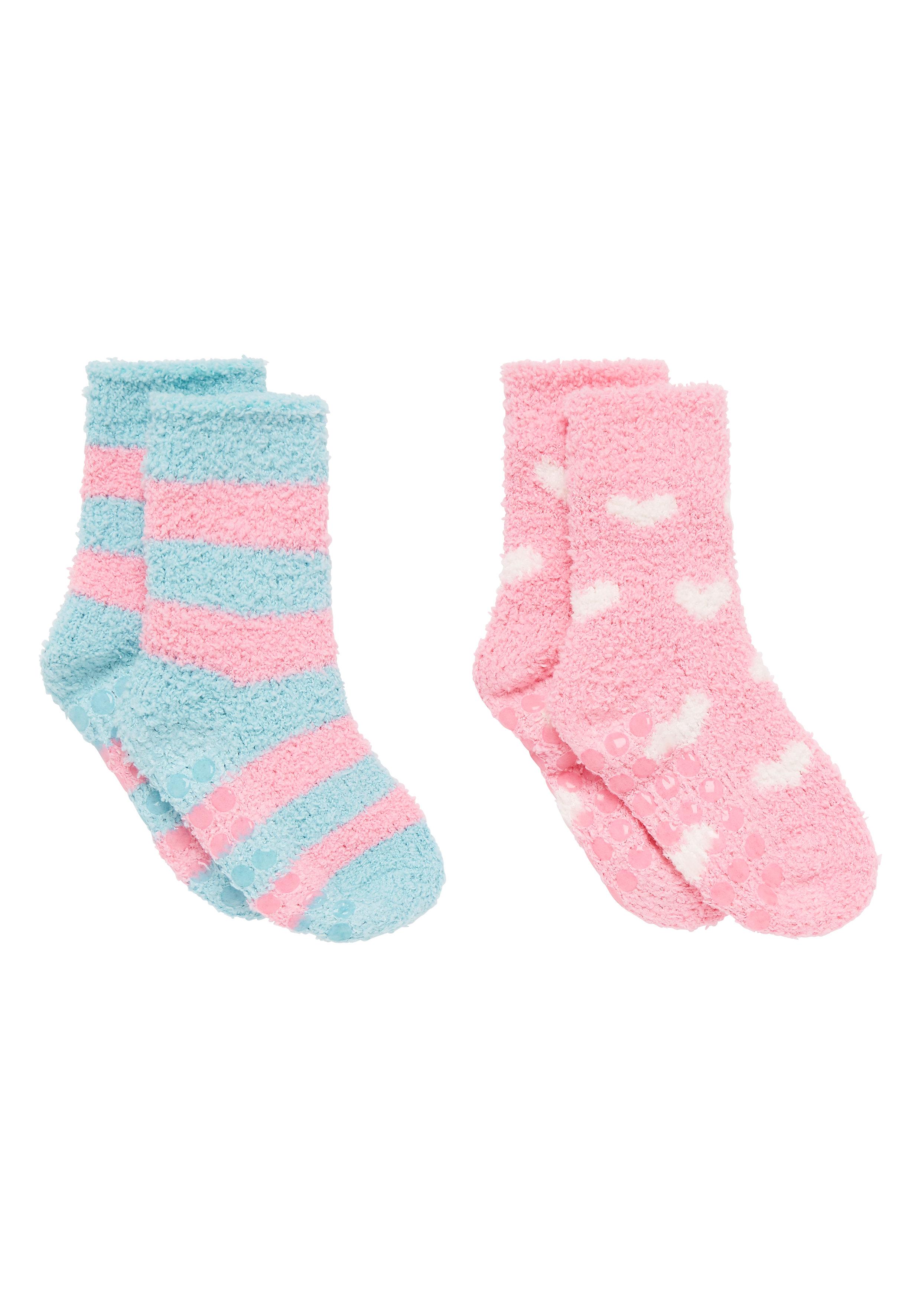 Mothercare | Girls Fluffy Socks Heart And Stripe Design - Pack Of 2 - Pink