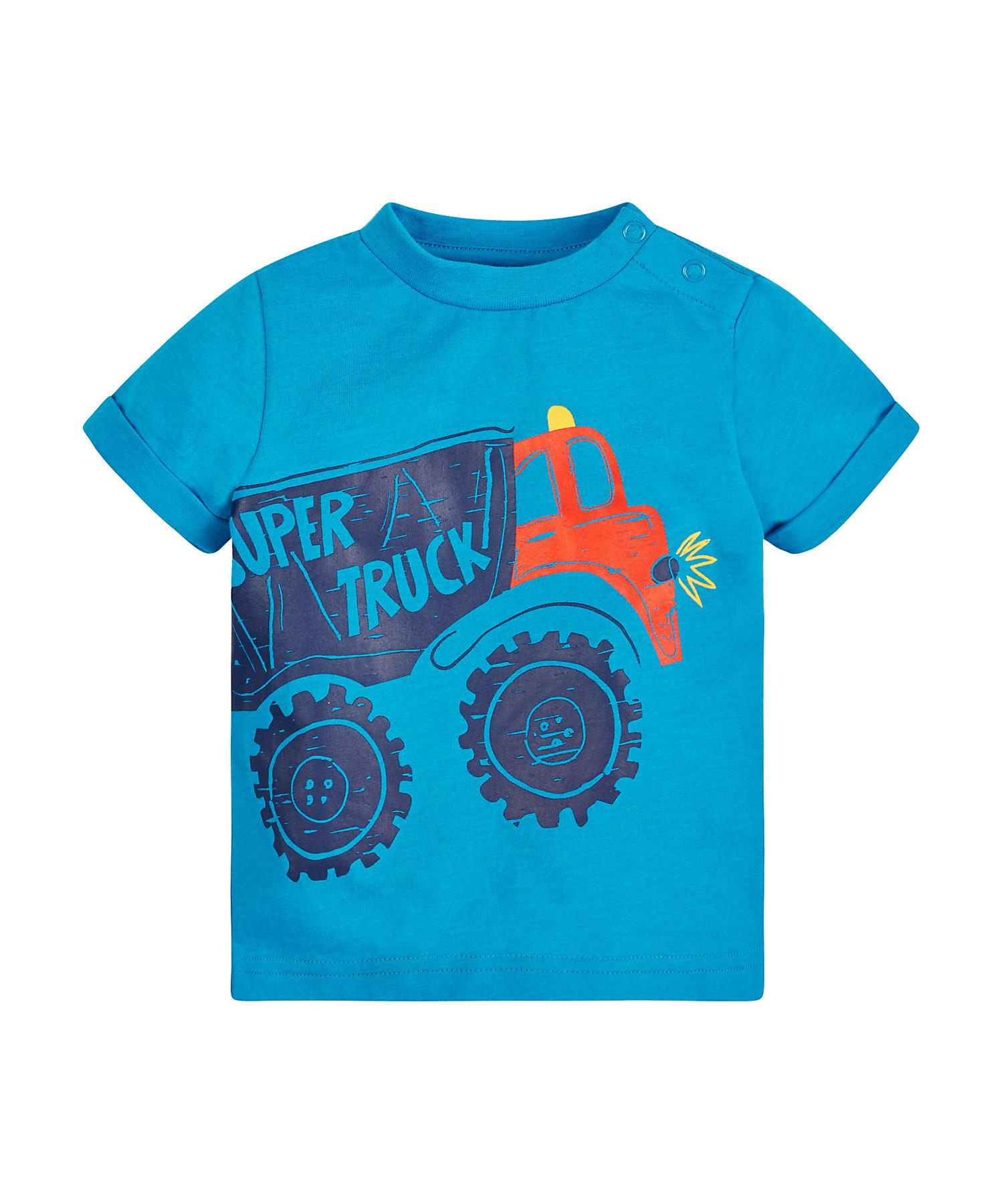 Mothercare | Boys Half Sleeves T-Shirt Truck Print - Blue