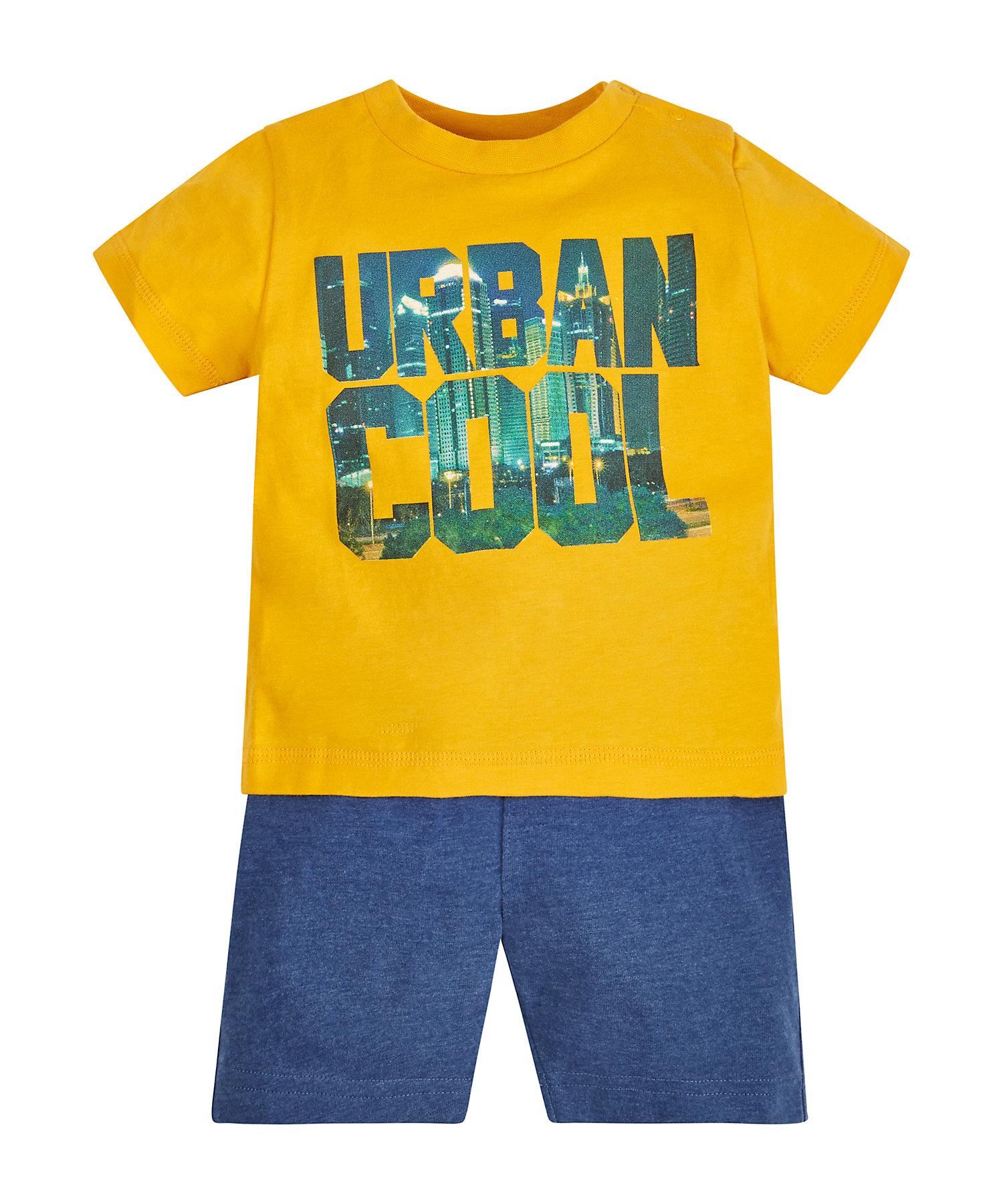 Mothercare | Boys Half Sleeves T-Shirt And Shorts Set Text Print - Pack Of 2 - Yellow