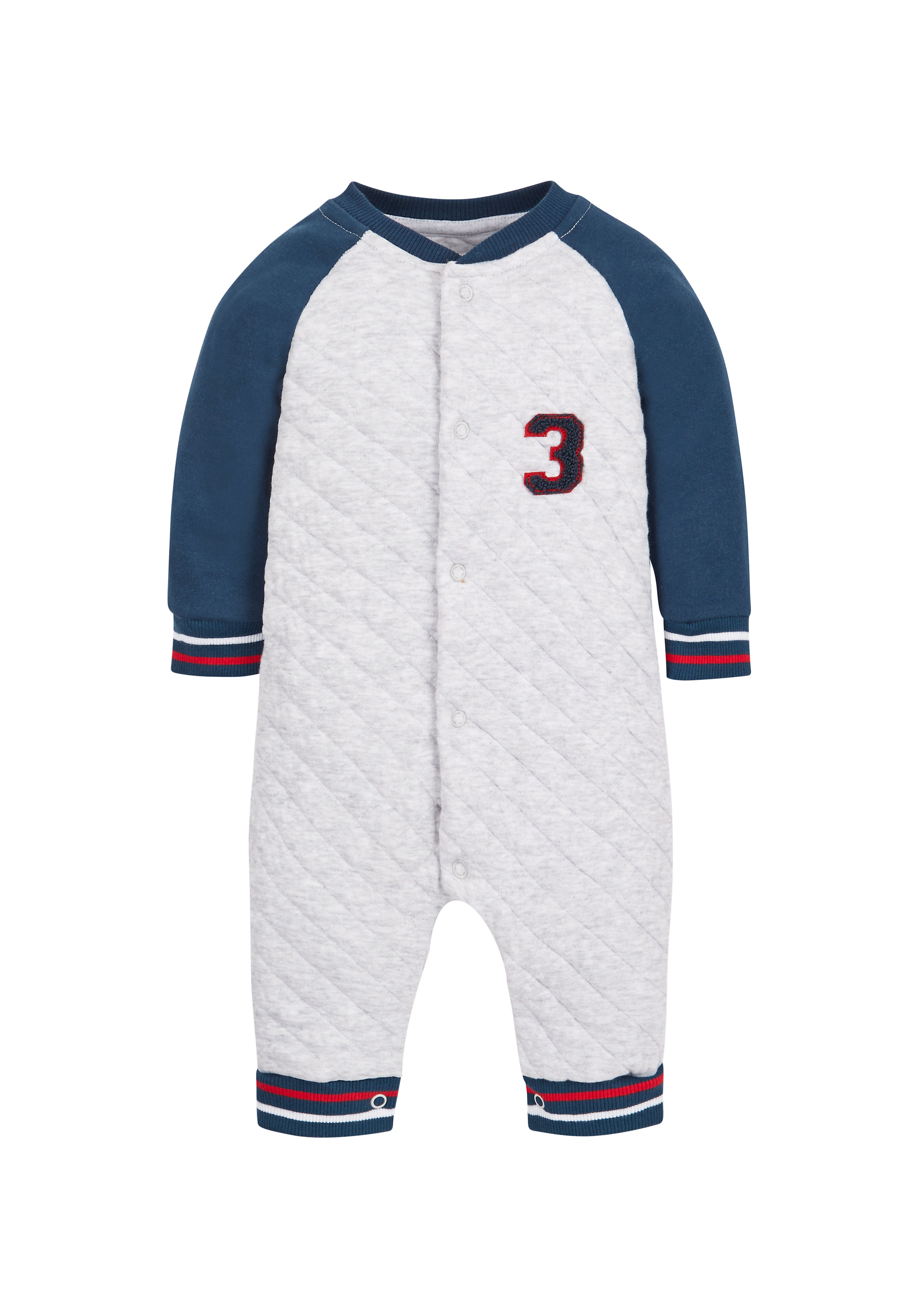 Mothercare | Boys Quilted Romper  - Grey