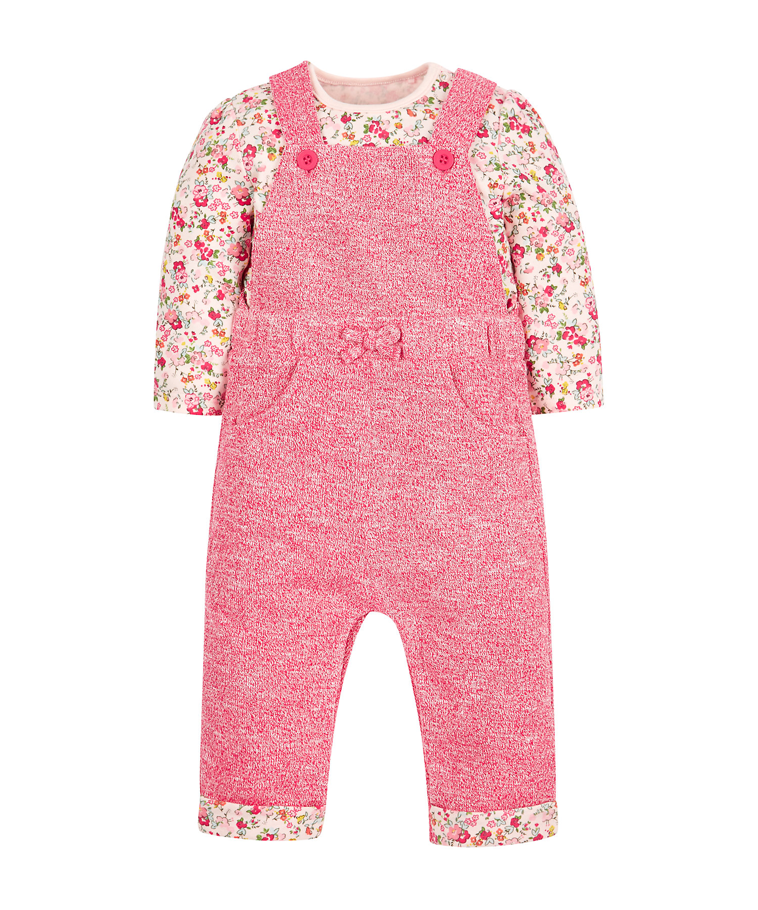 Mothercare   Girls Full Sleeves Dungaree And Bodysuit Set Floral Print - Pink