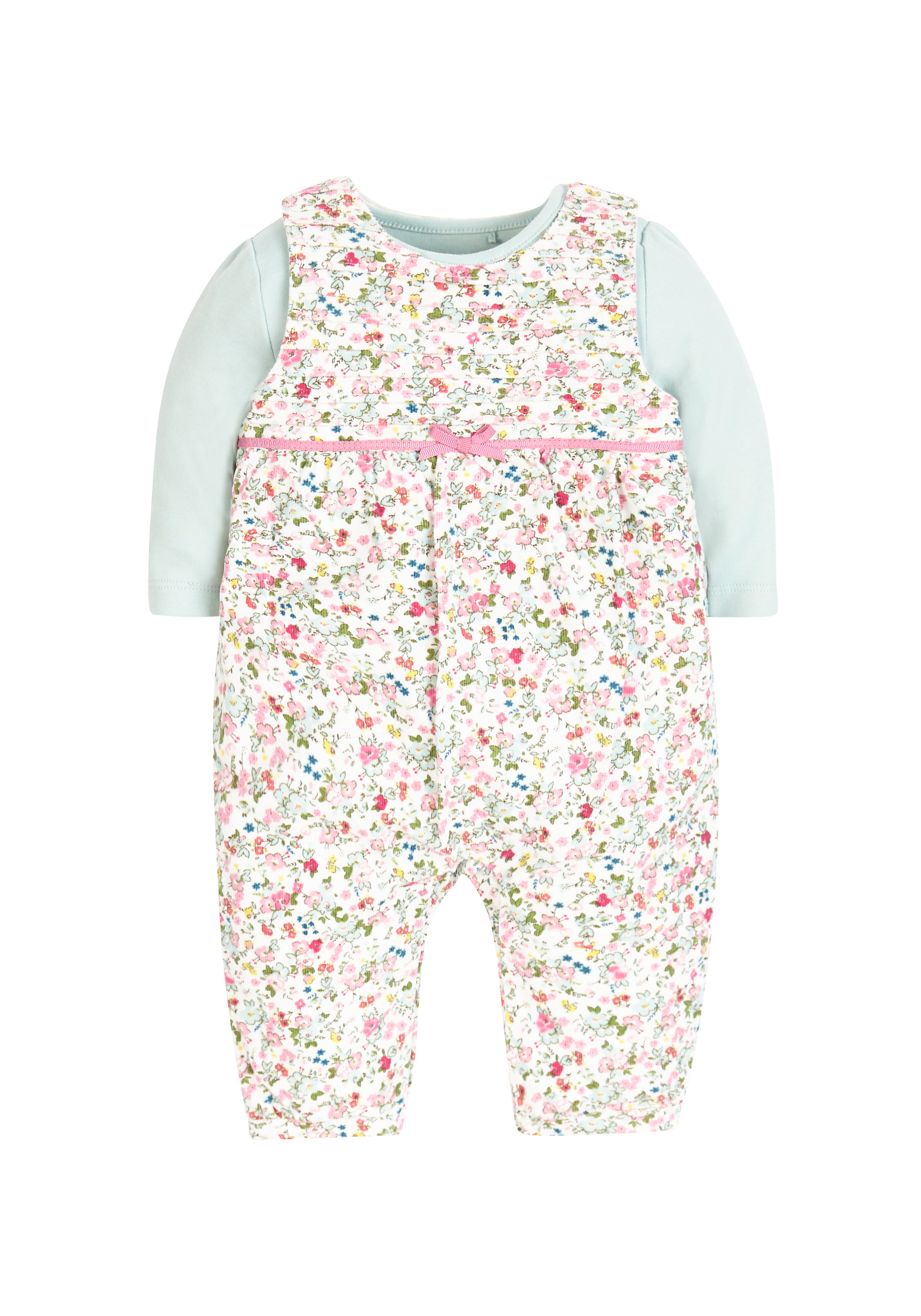 Mothercare | Girls Bodysuit And Baby Cord Floral Dungarees - Multicolor