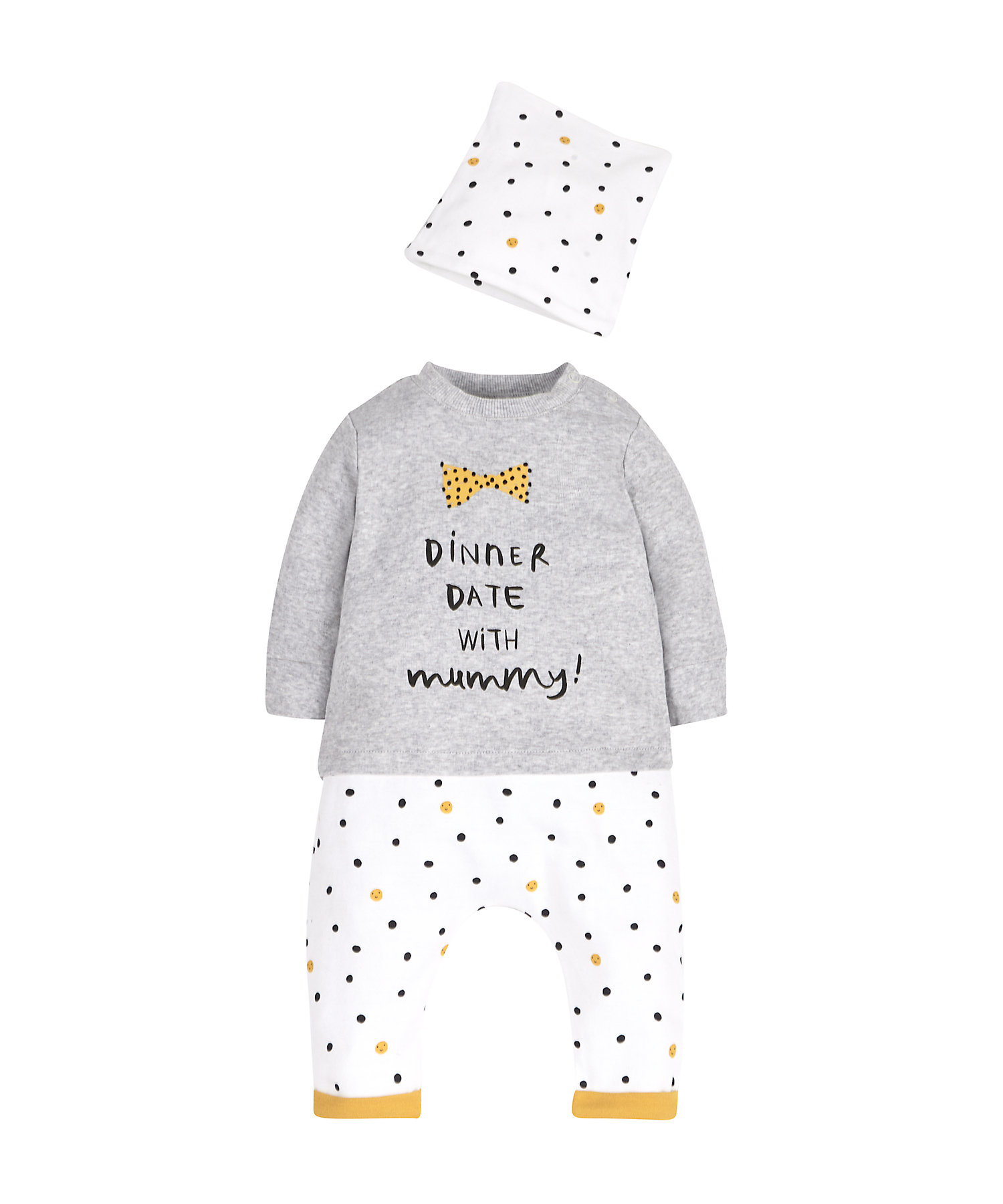 Mothercare   Girls Full Sleeves 3 Piece Set Text Print - Grey