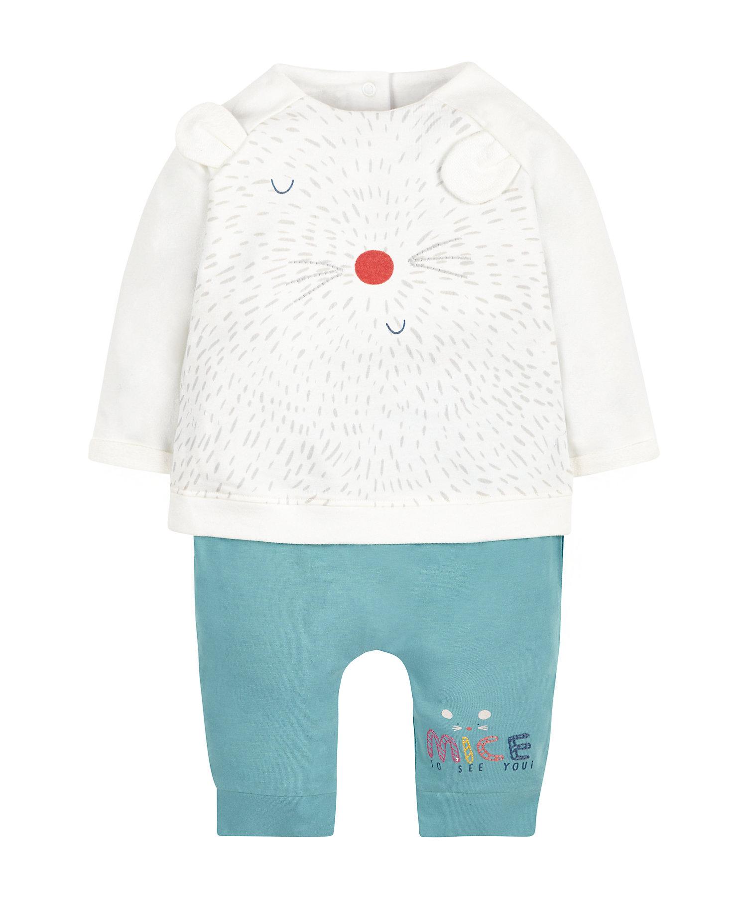Mothercare | Girls Full Sleeves Pyjama Set 3D Mouse Ears - White