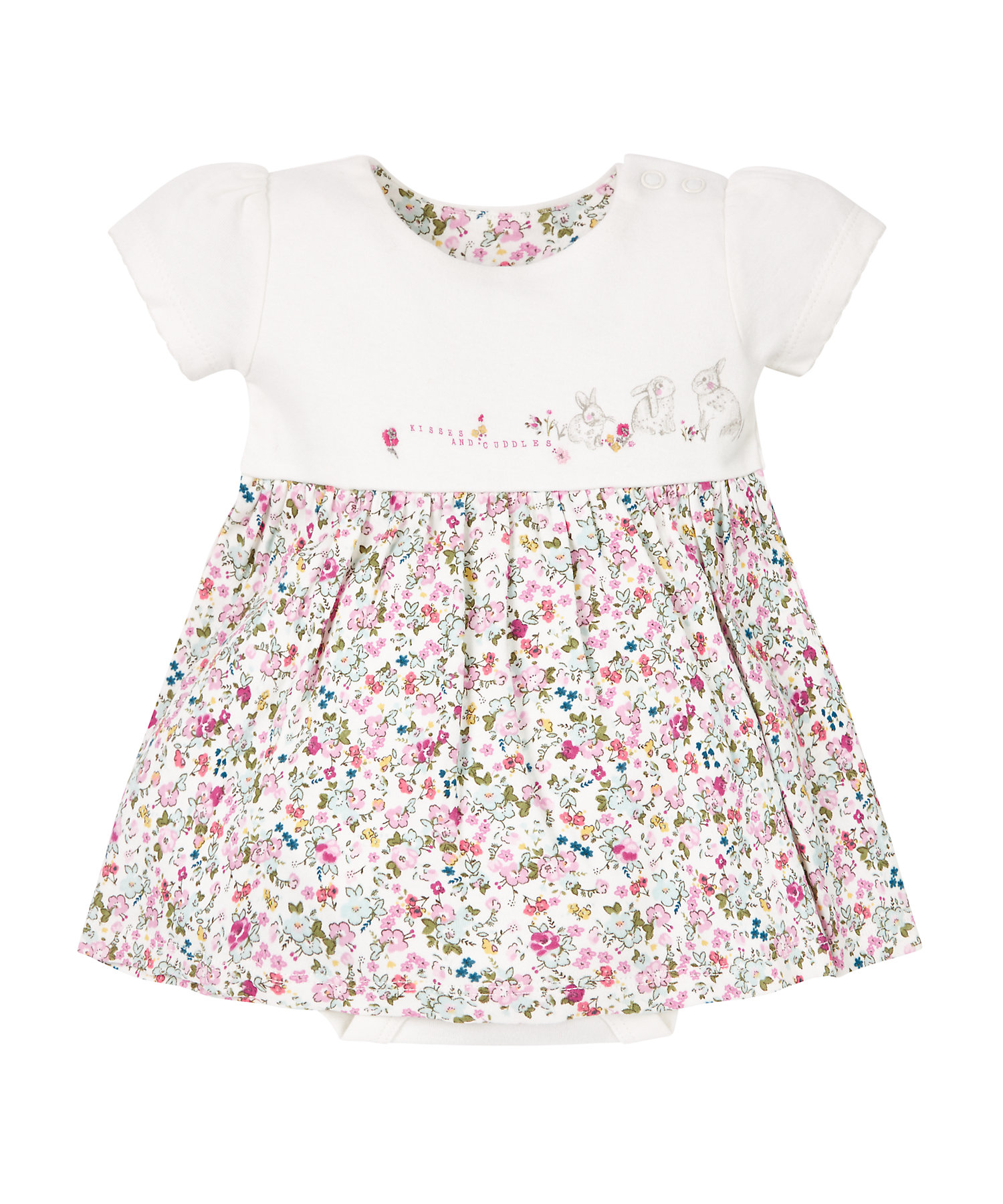 Mothercare | Girls Half Sleeves Romper Dress Floral Print And Embroidery - Multicolor