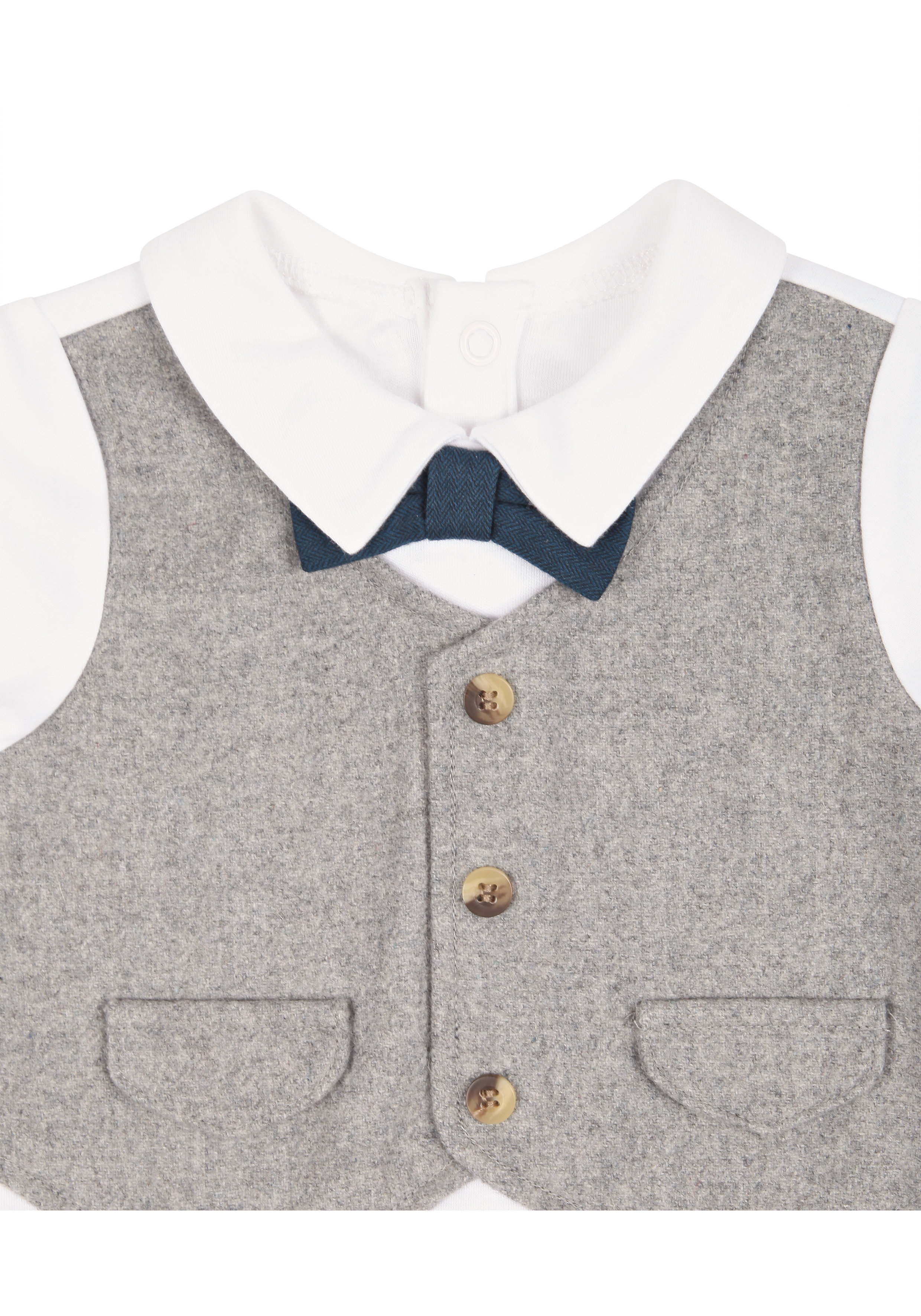 Mothercare | Boys Full Sleeves Romper Mock Waistcoat With Bow Tie - Grey