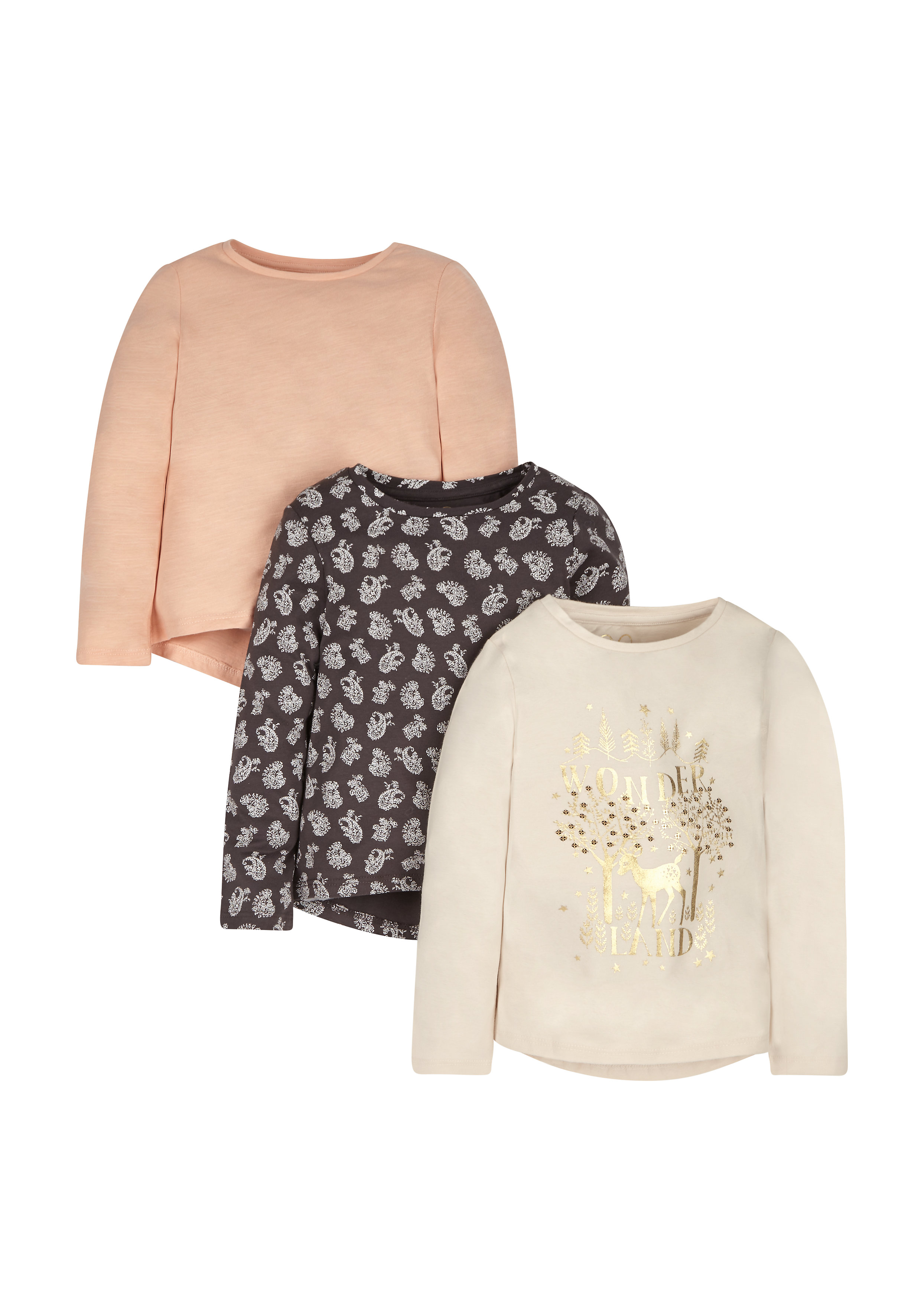 Mothercare   Girls Wonderland T-Shirts - Pack Of 3 - Cream