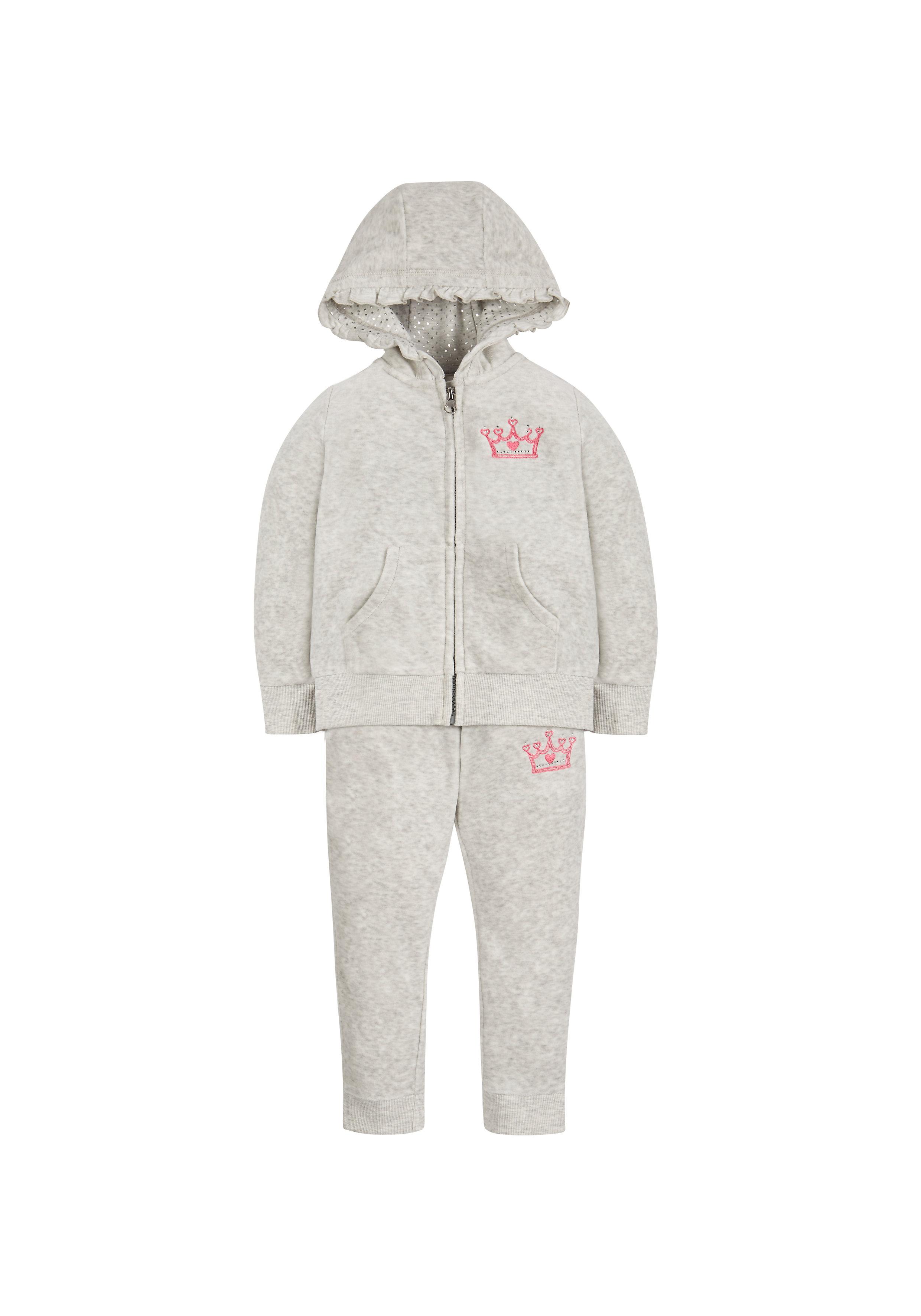 Mothercare   Girls Velour Jog Set - Grey