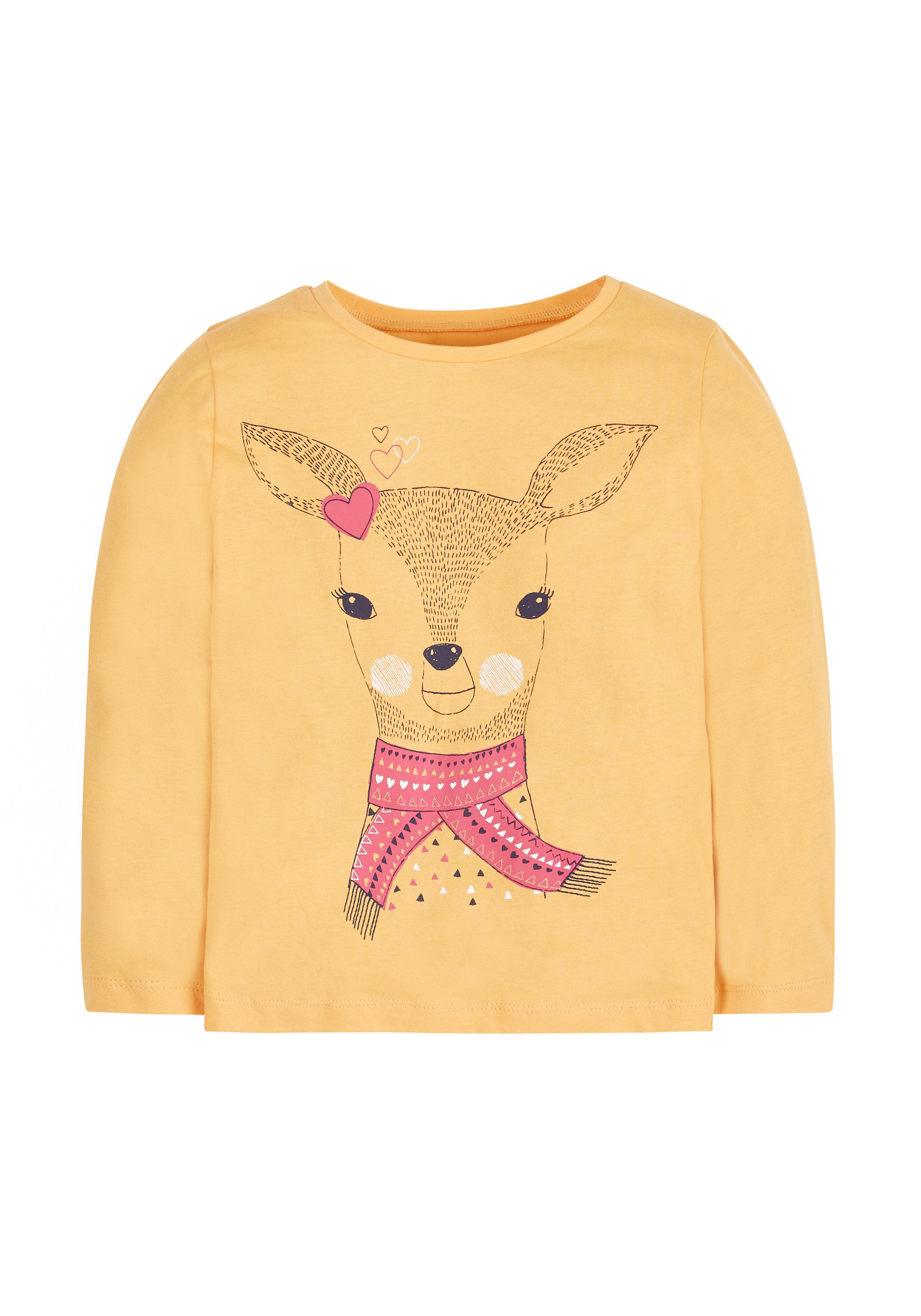 Mothercare   Girls Full Sleeves T-Shirt  Deer Print - Yellow