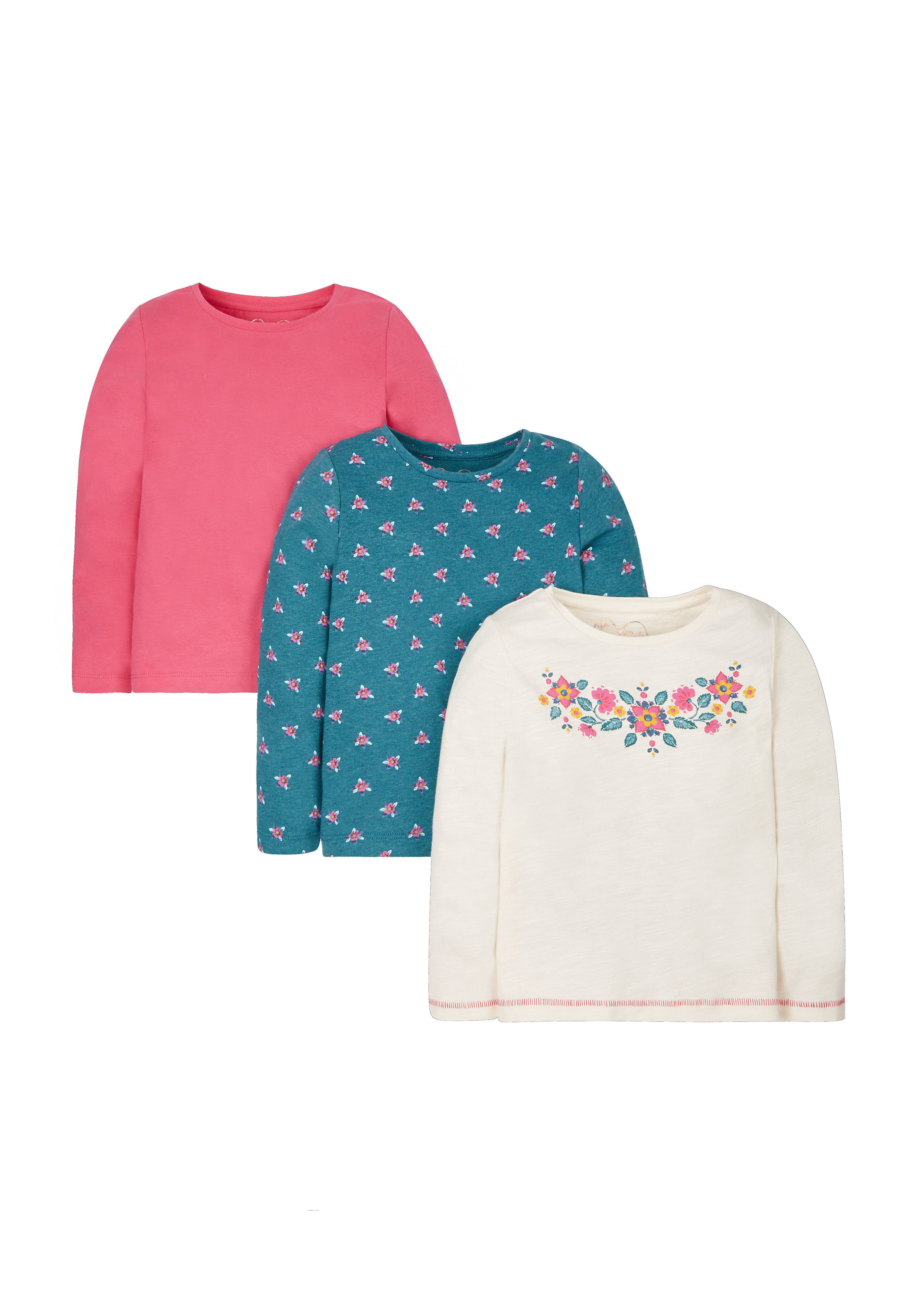 Mothercare | Girls Full Sleeves T-Shirt Floral Print - Pack Of 3 - Multicolor