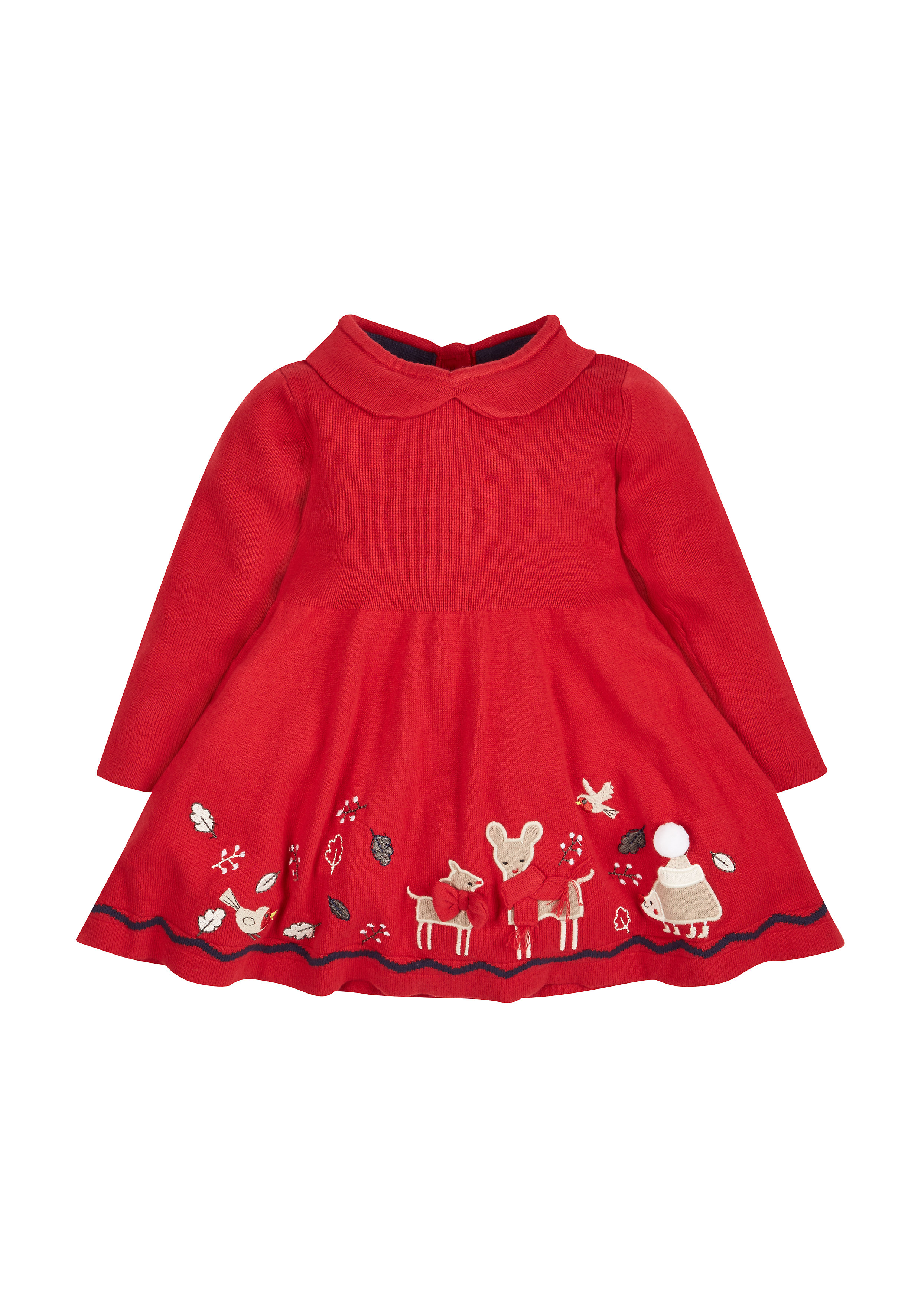 Mothercare   Girls Full Sleeves Dress 3D Bow Detail - Red