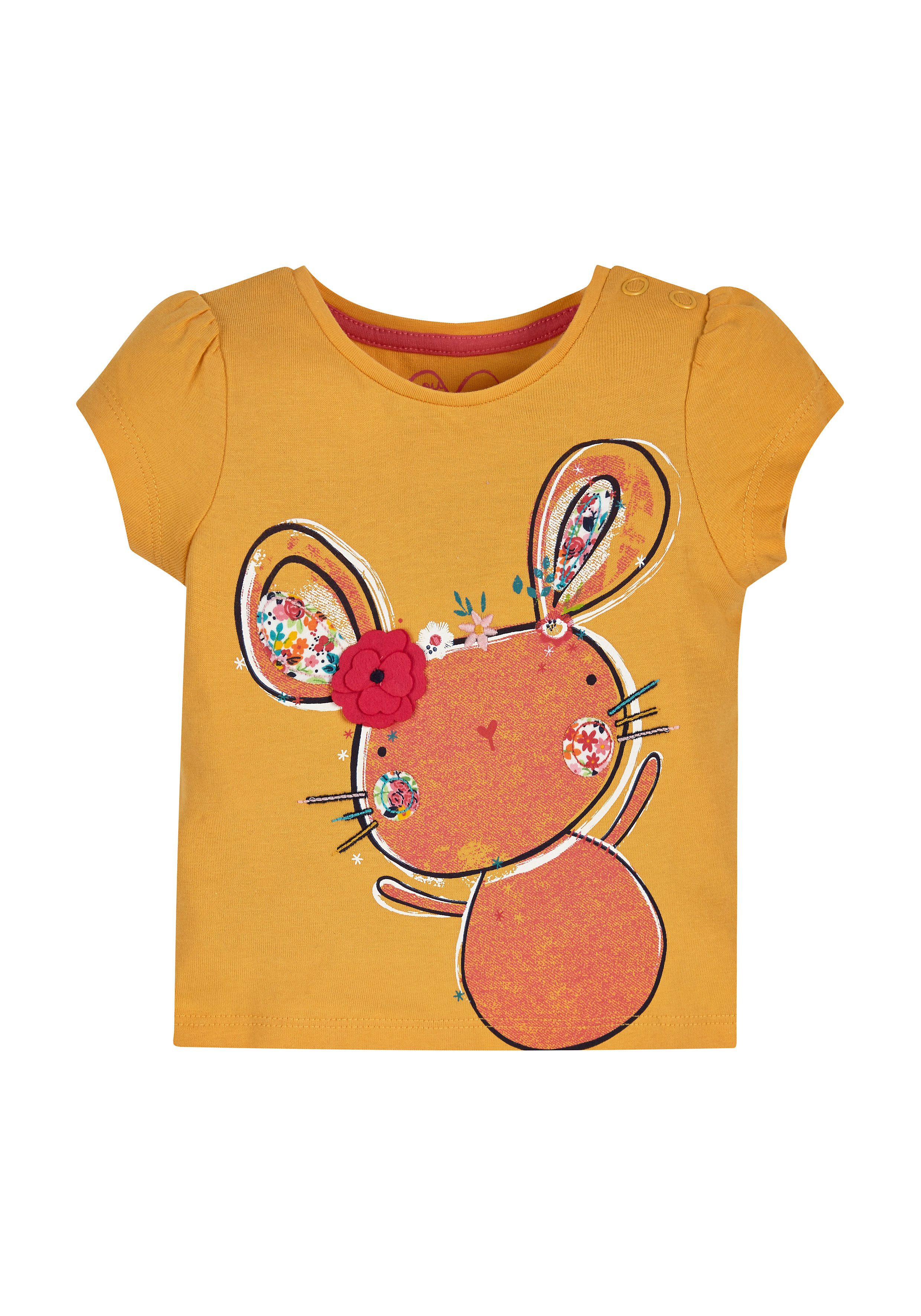 Mothercare | Girls Half Sleeves T-Shirt Pretty Mouse Patchwork - Mustard