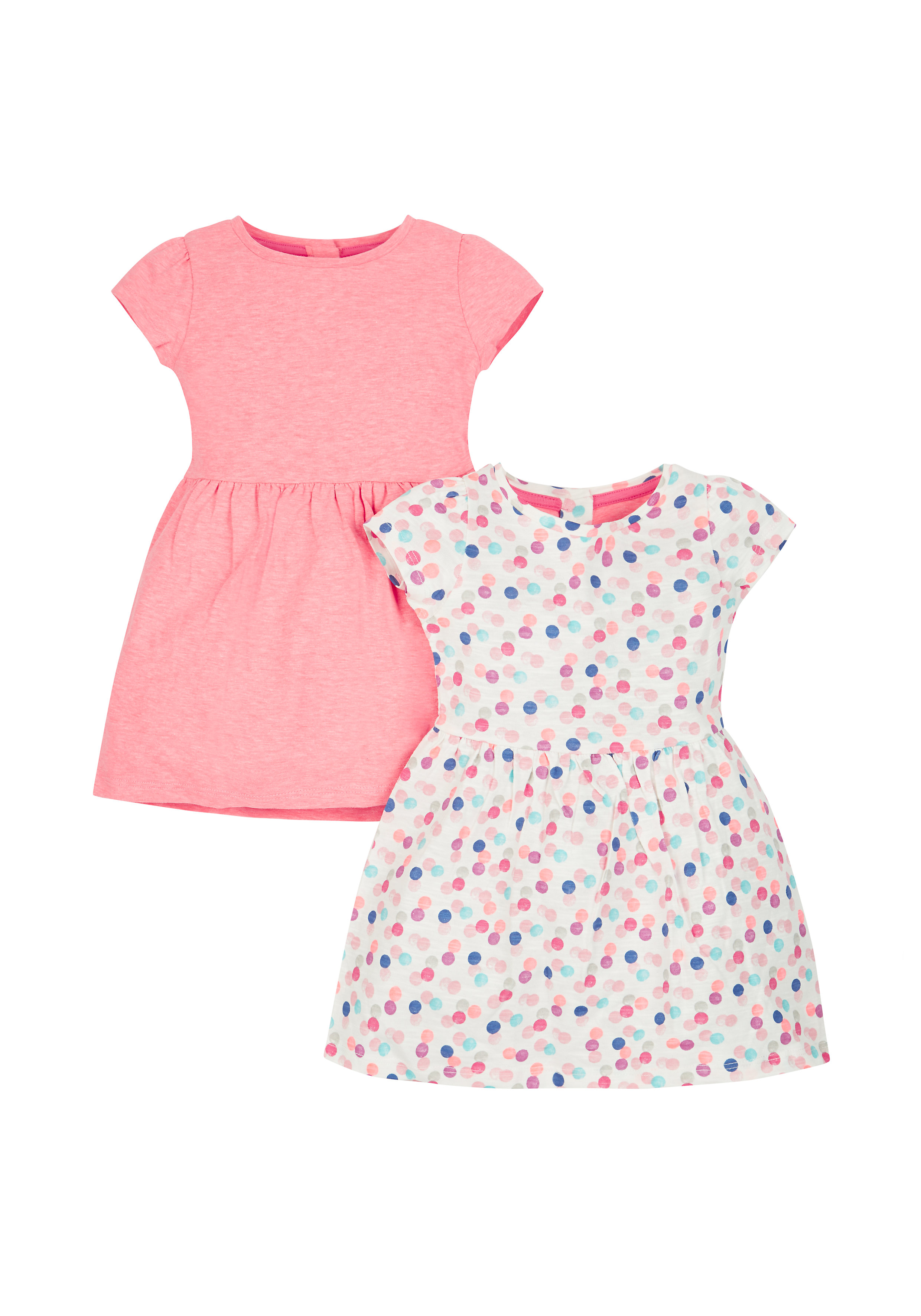 Mothercare | Girls Half Sleeves Dress Spot Print - Pack Of 2 - Multicolor
