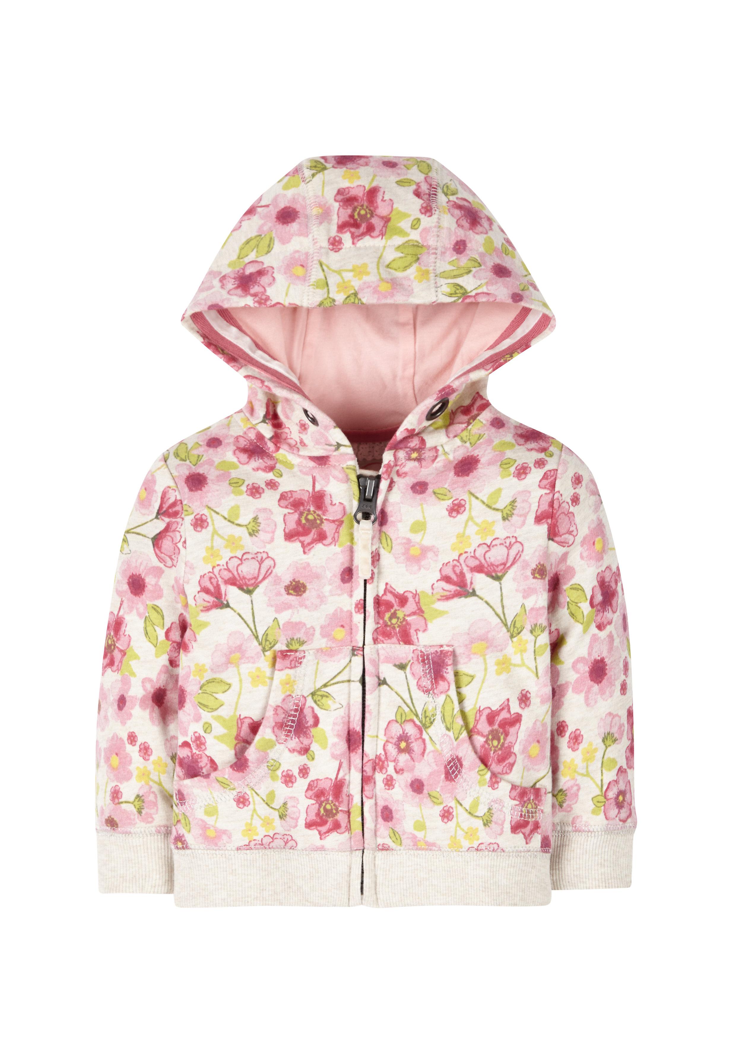 Mothercare | Girls Full Sleeves Hooded Sweatshirt Floral Print - Pink