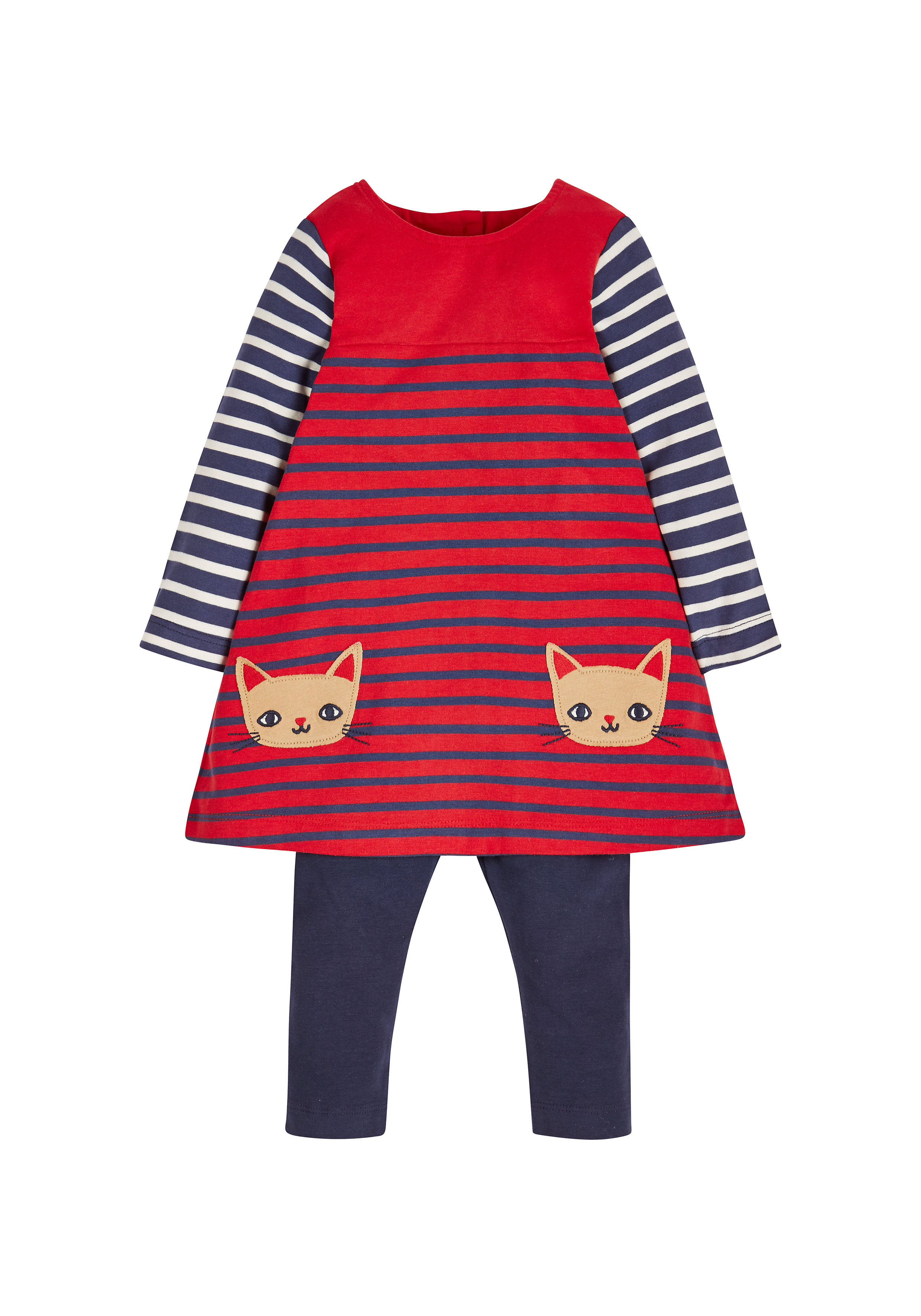 Mothercare | Girls Cat Dress And Leggings Set - Red