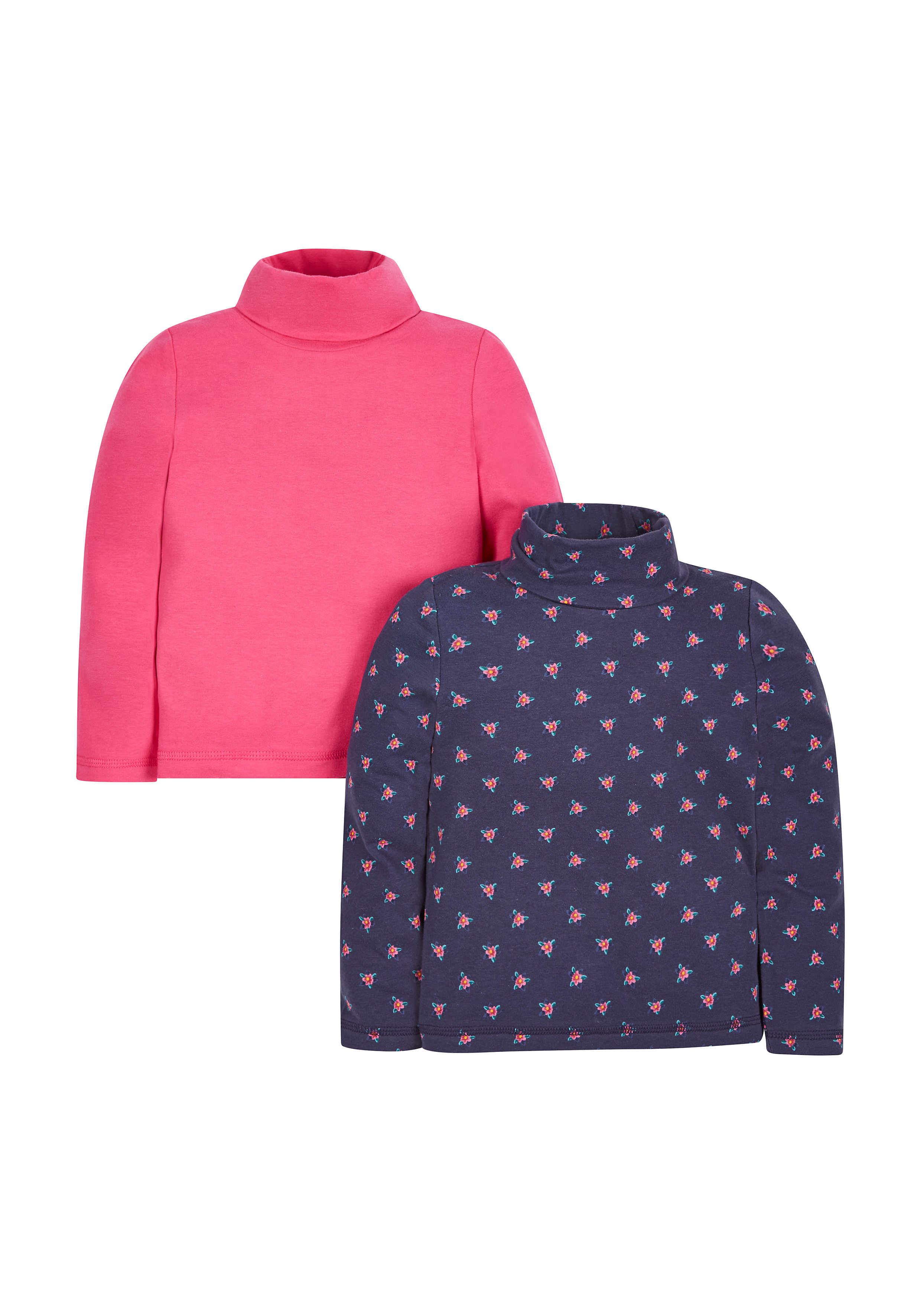 Mothercare | Girls Full Sleeves Roll Neck Top Floral Print - Pack Of 2 - Multicolor