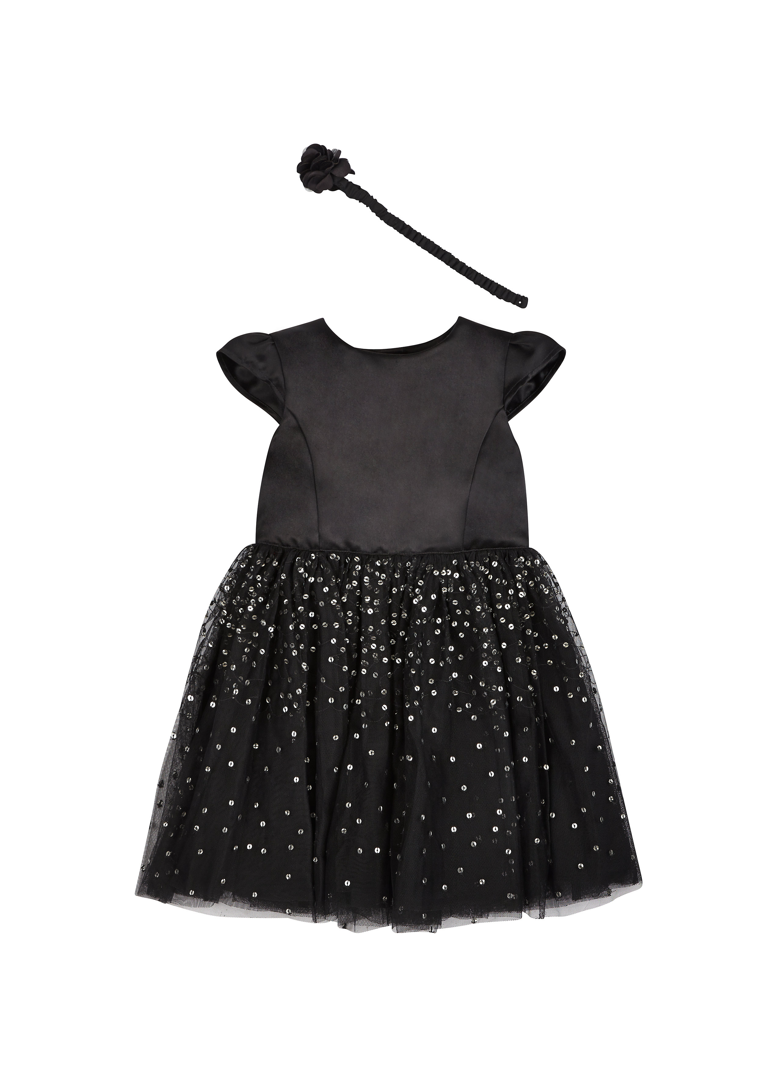 Mothercare | Girls  Sequin Party Dress With Headband - Black