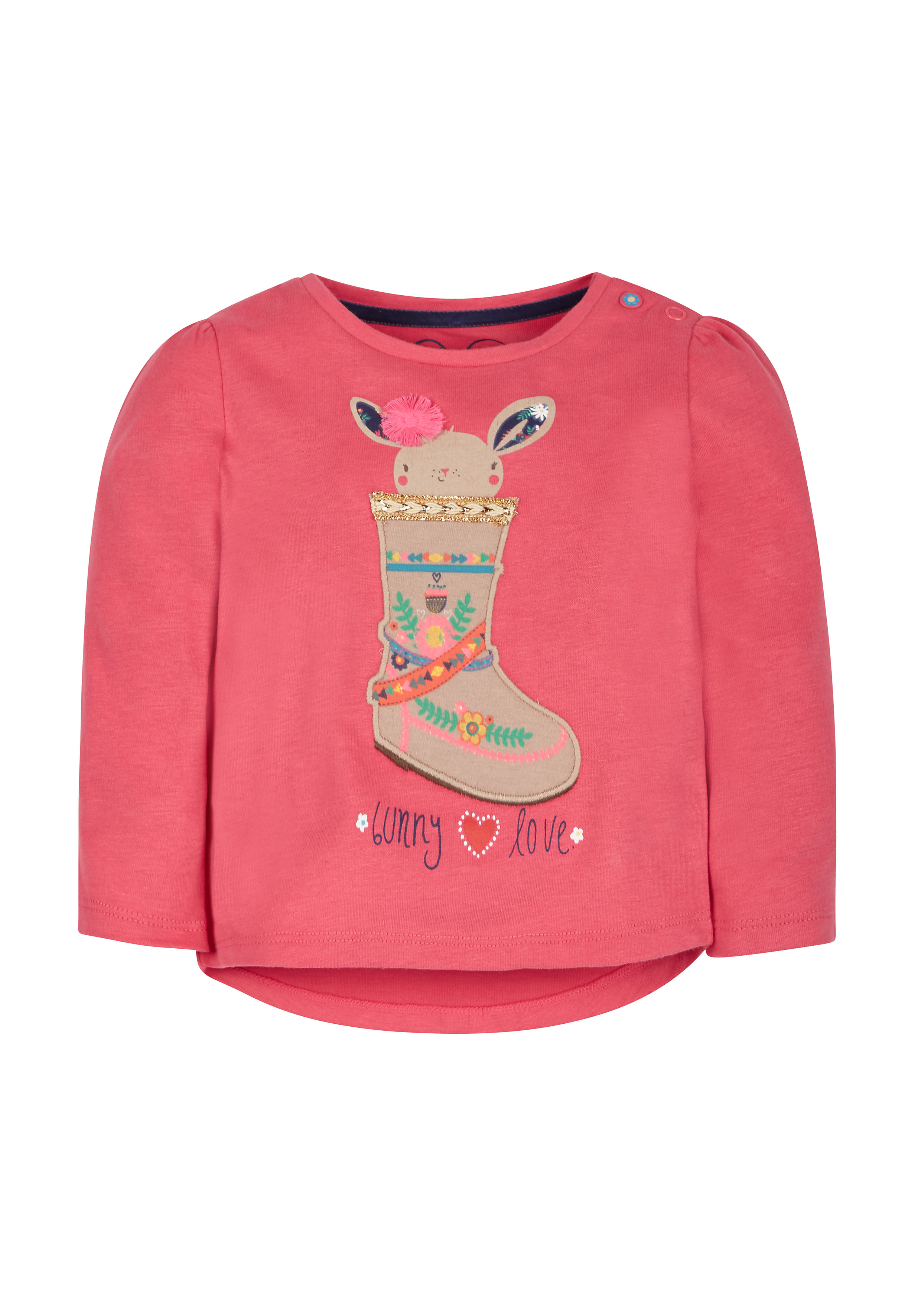 Mothercare   Girls Full Sleeves T-Shirt Boot Embroidery - Pink