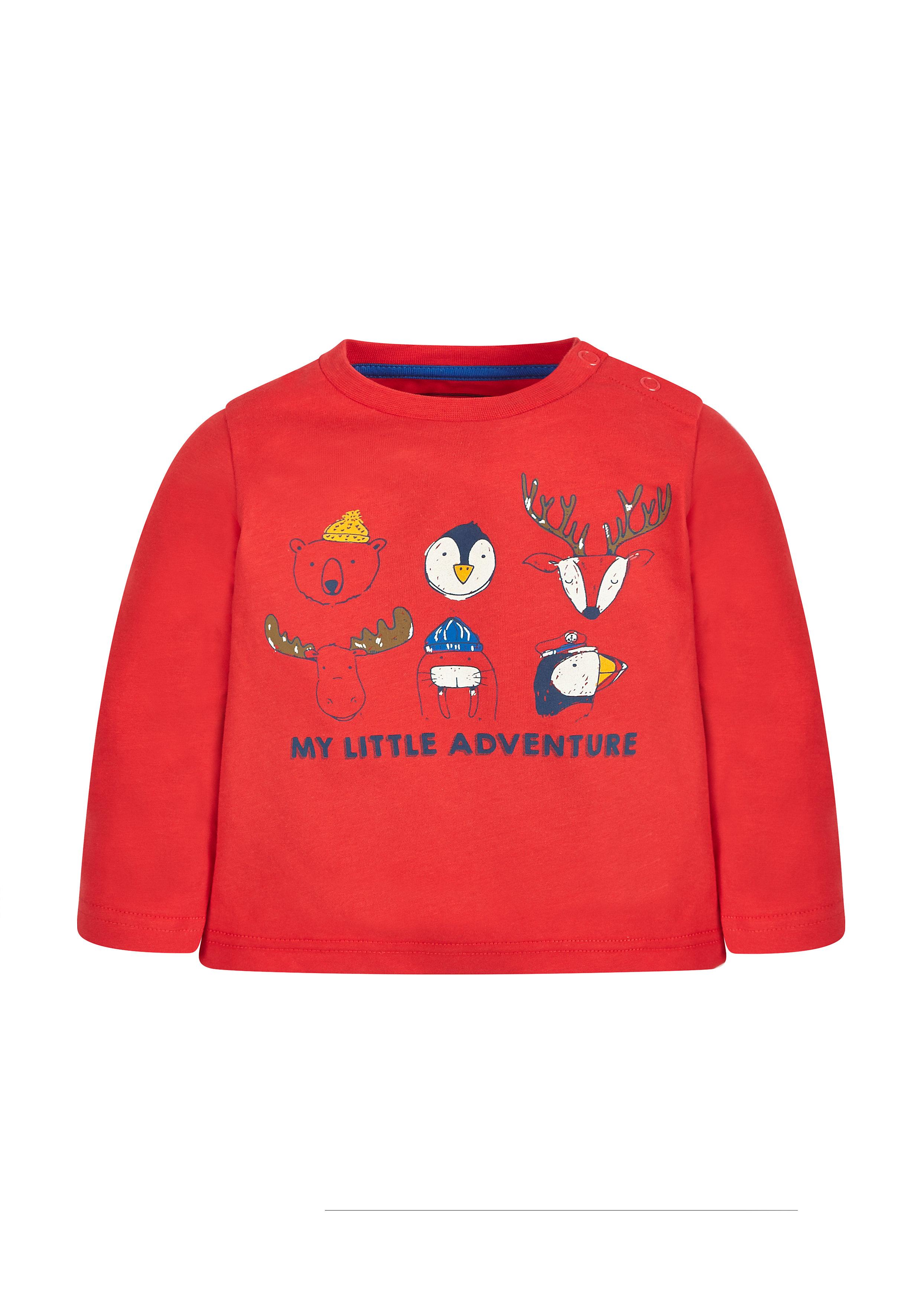 Mothercare | Boys Full Sleeves T-Shirt Animal Print - Red