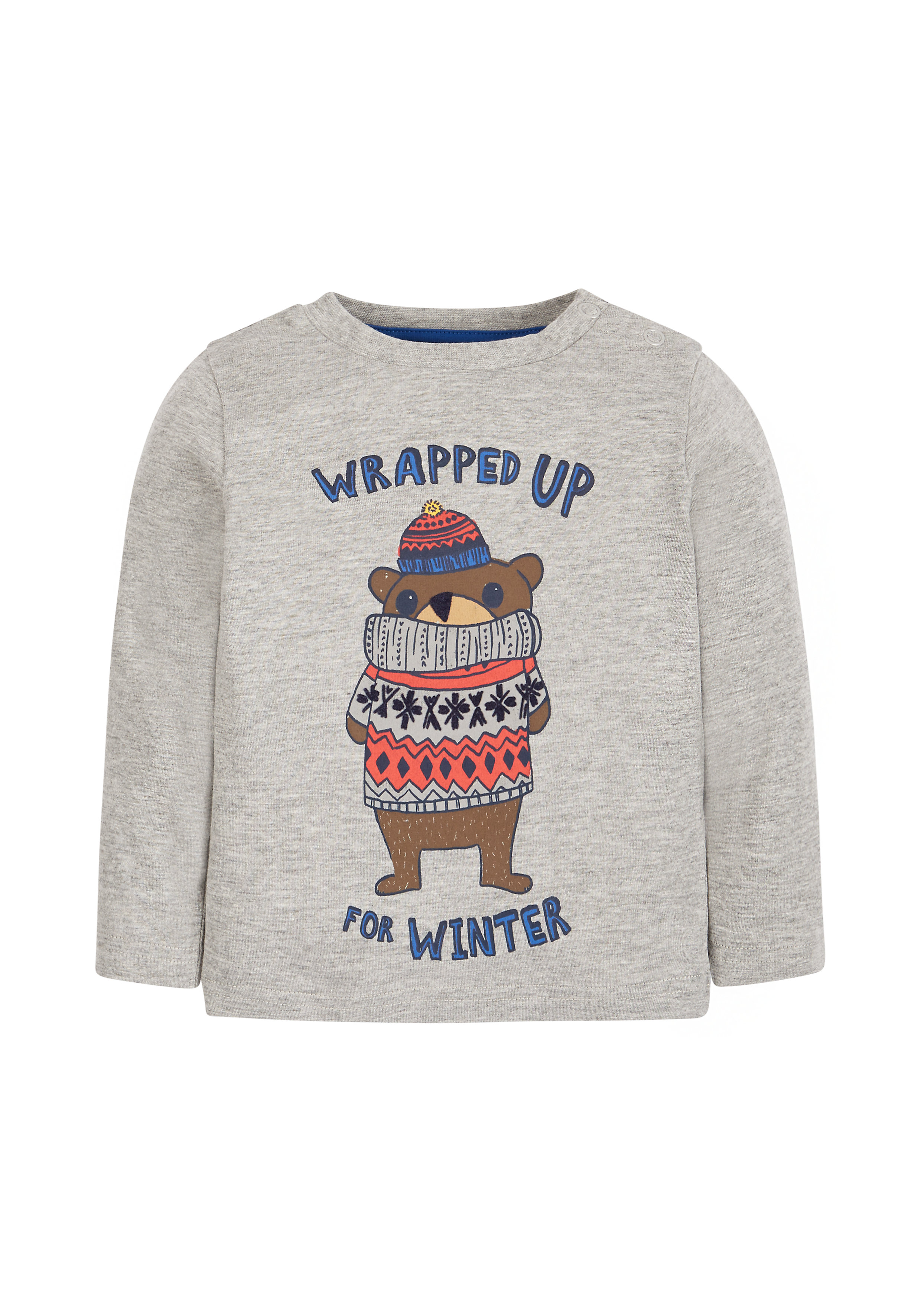 Mothercare | Boys Wrapped Up Bear T-Shirt - Grey