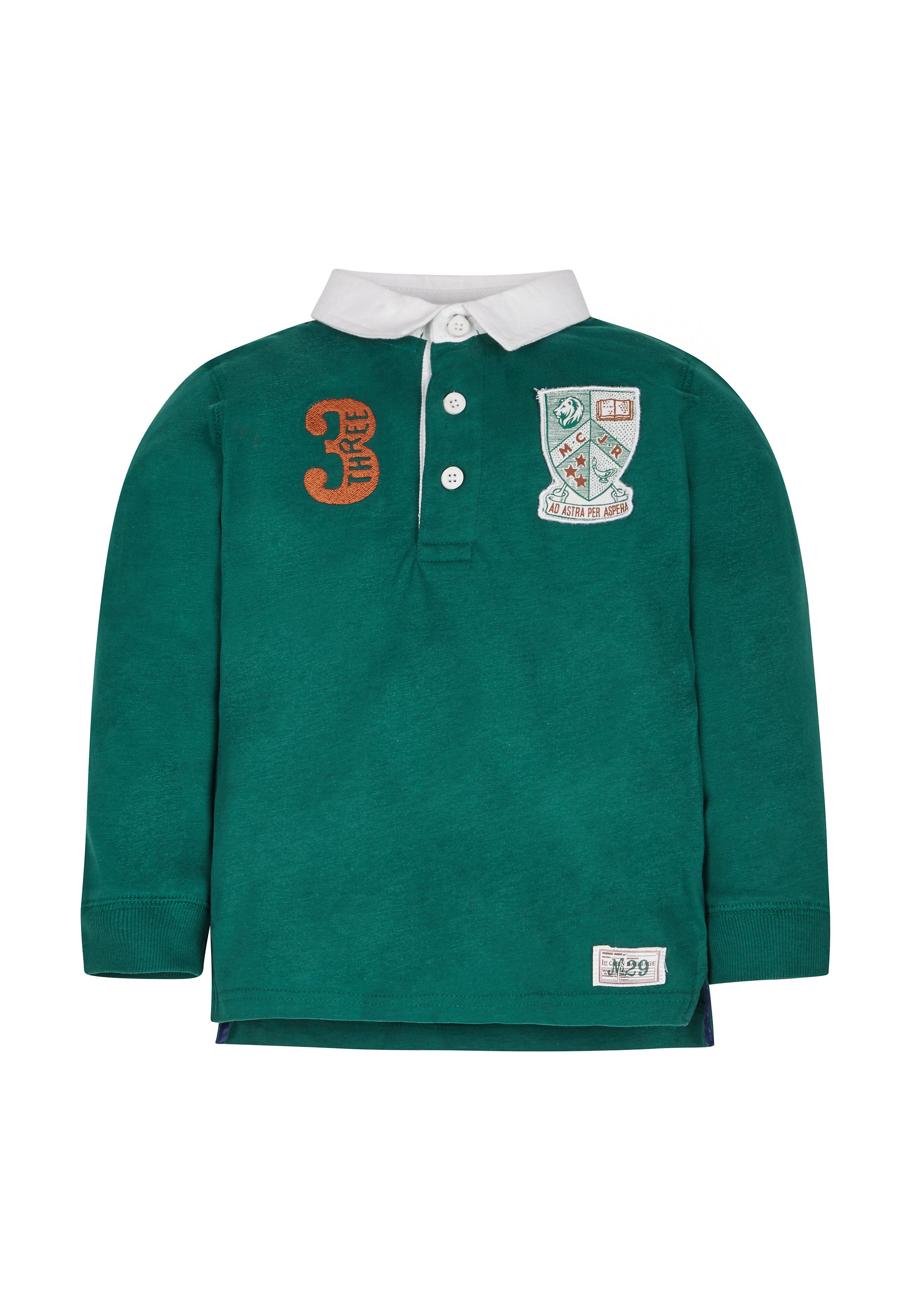 Mothercare | Boys Full Sleeves Polo T-Shirt Badge Detail - Green