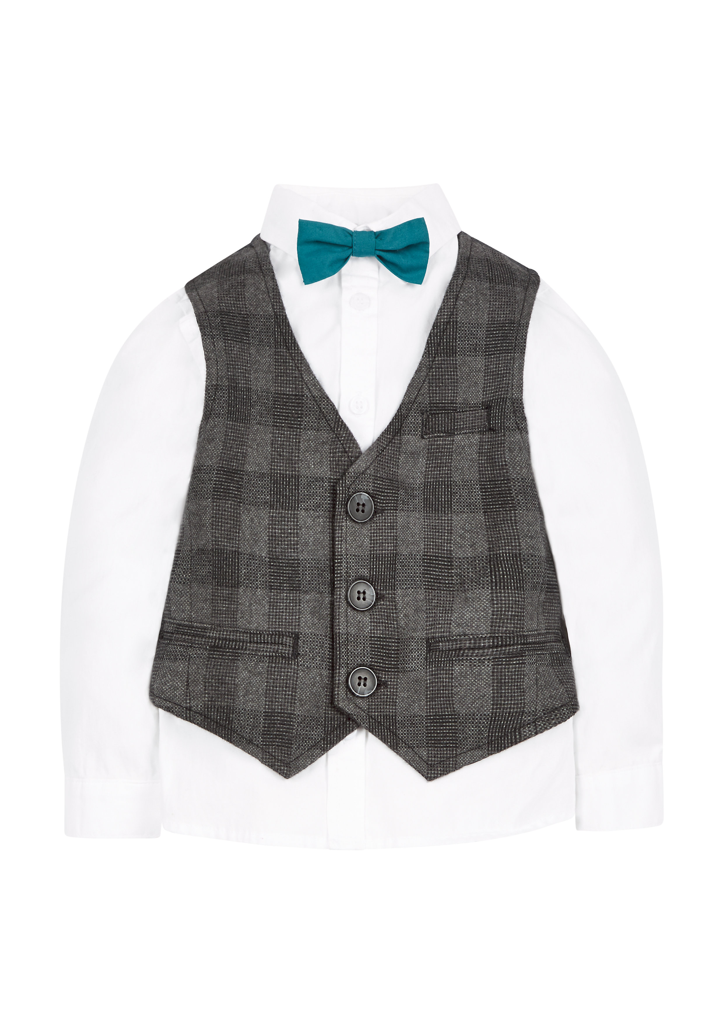 Mothercare | Boys Oxford Shirt With Waistcoat And Bowtie - White