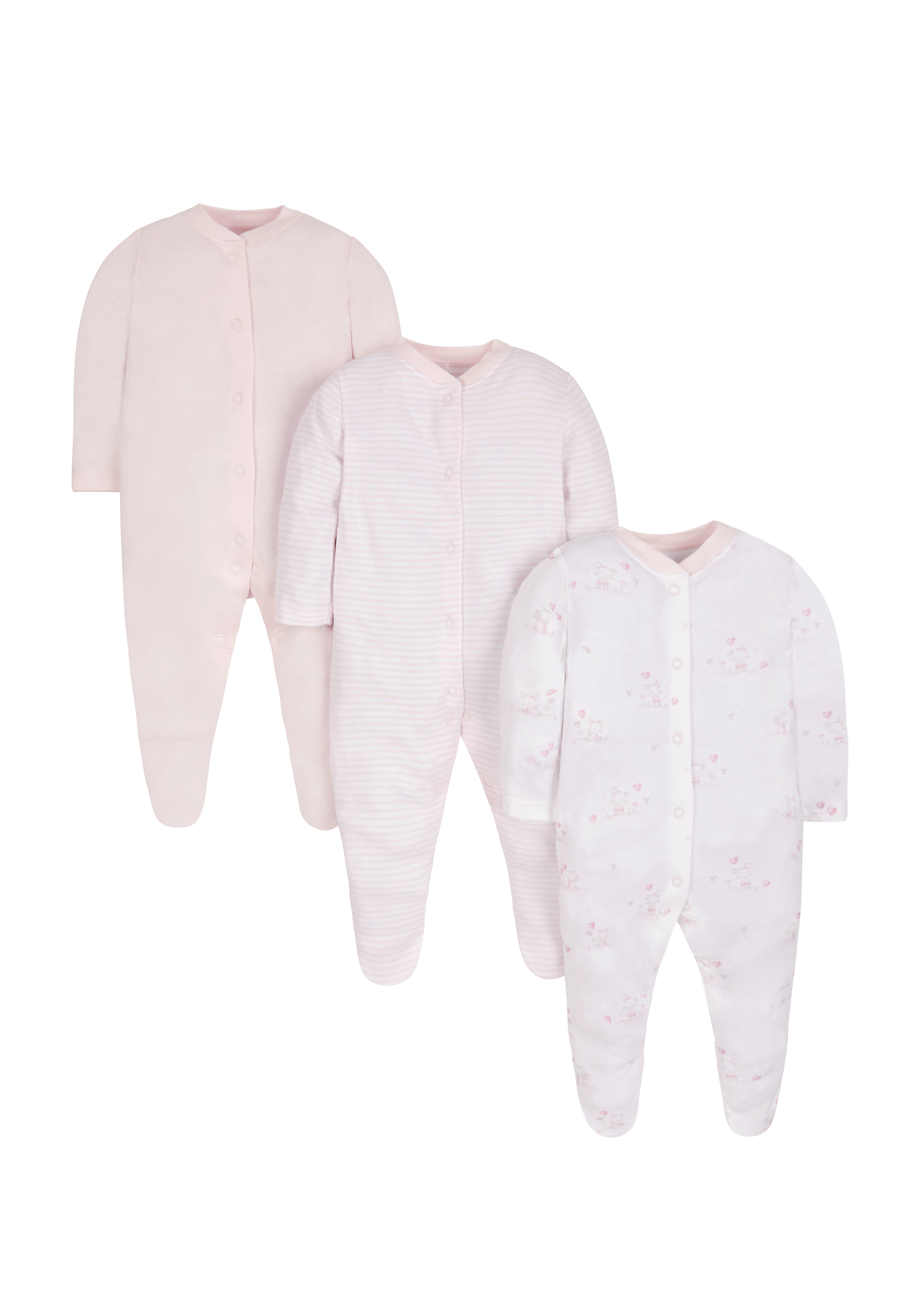 Mothercare | Girls Sleepsuits - Pack Of 3 - White Pink